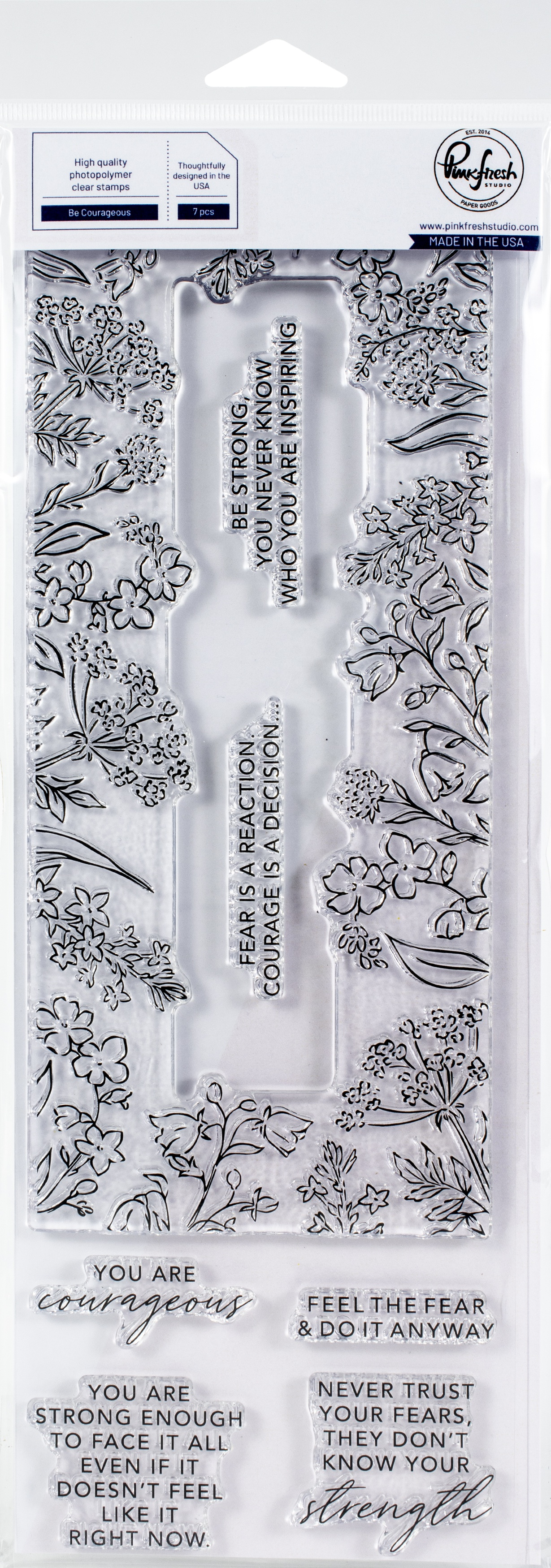 Pinkfresh Studio Clear Stamp Set 4X12-Be Courageous