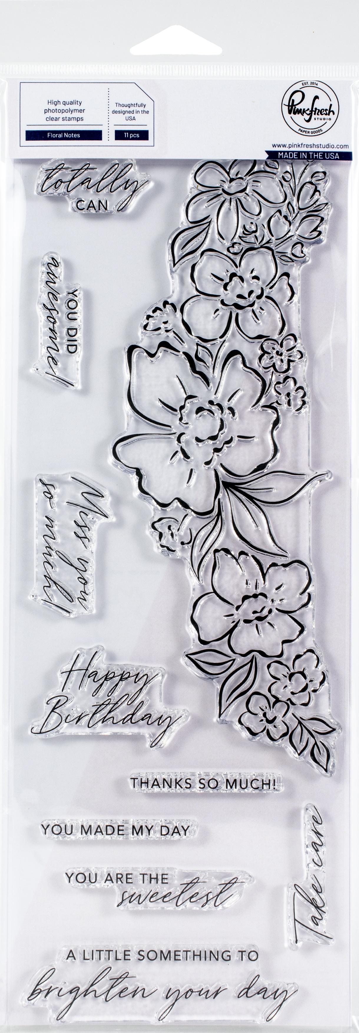 Pinkfresh Studio Clear Slimline Stamp Set 4X12-Floral Notes