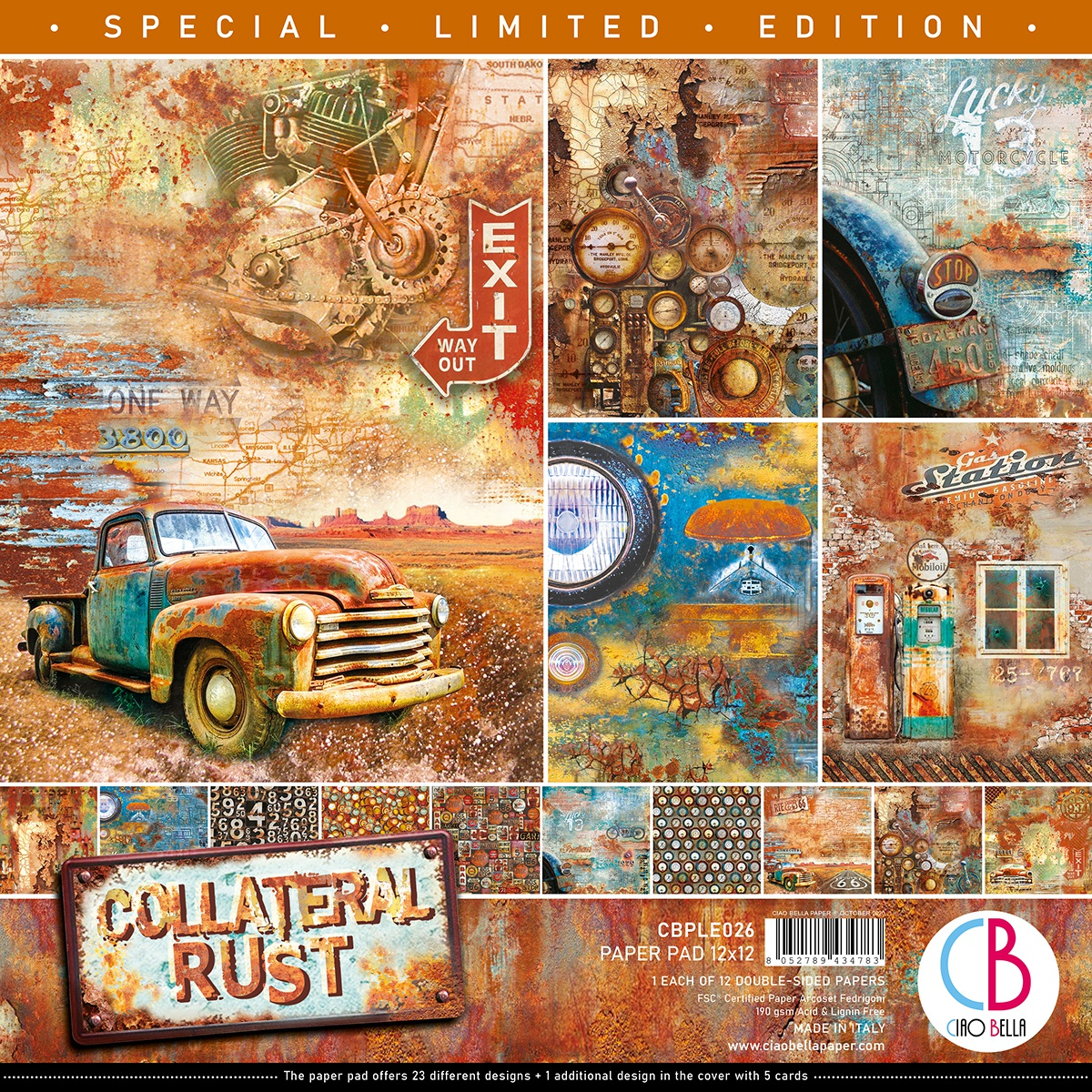 Ciao Bella Double-Sided Paper Pack 90lb 12X12 12/Pkg-Collateral Rust, 12 Designs/1 Each