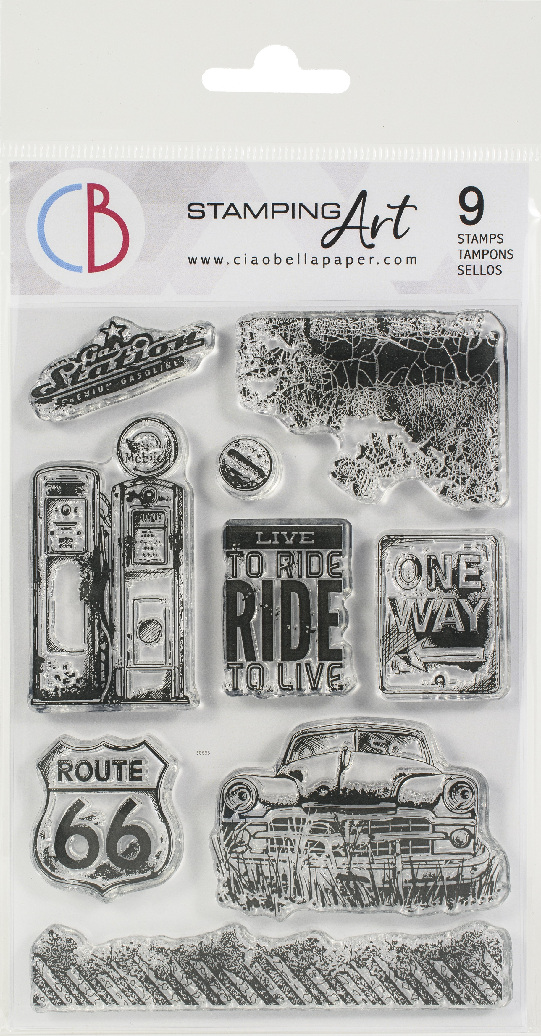 Ciao Bella Stamping Art Clear Stamps - Gas Station