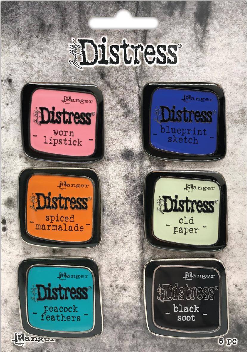 Tim Holtz Distress Enamel Collector Pin Set 6/Pkg-Set 4