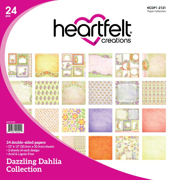 Heartfelt Creations Double-Sided Paper Pad 12X12 24/Pkg-Dazzling Dahlia