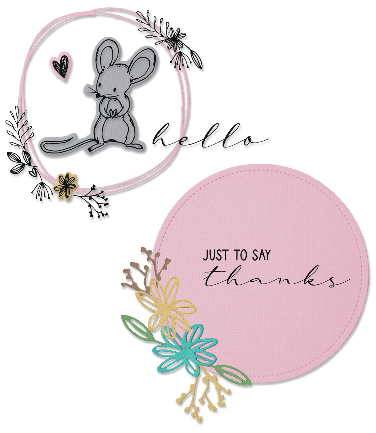 Sizzix - Framelits Die & Stamp Set - Hello Mouse