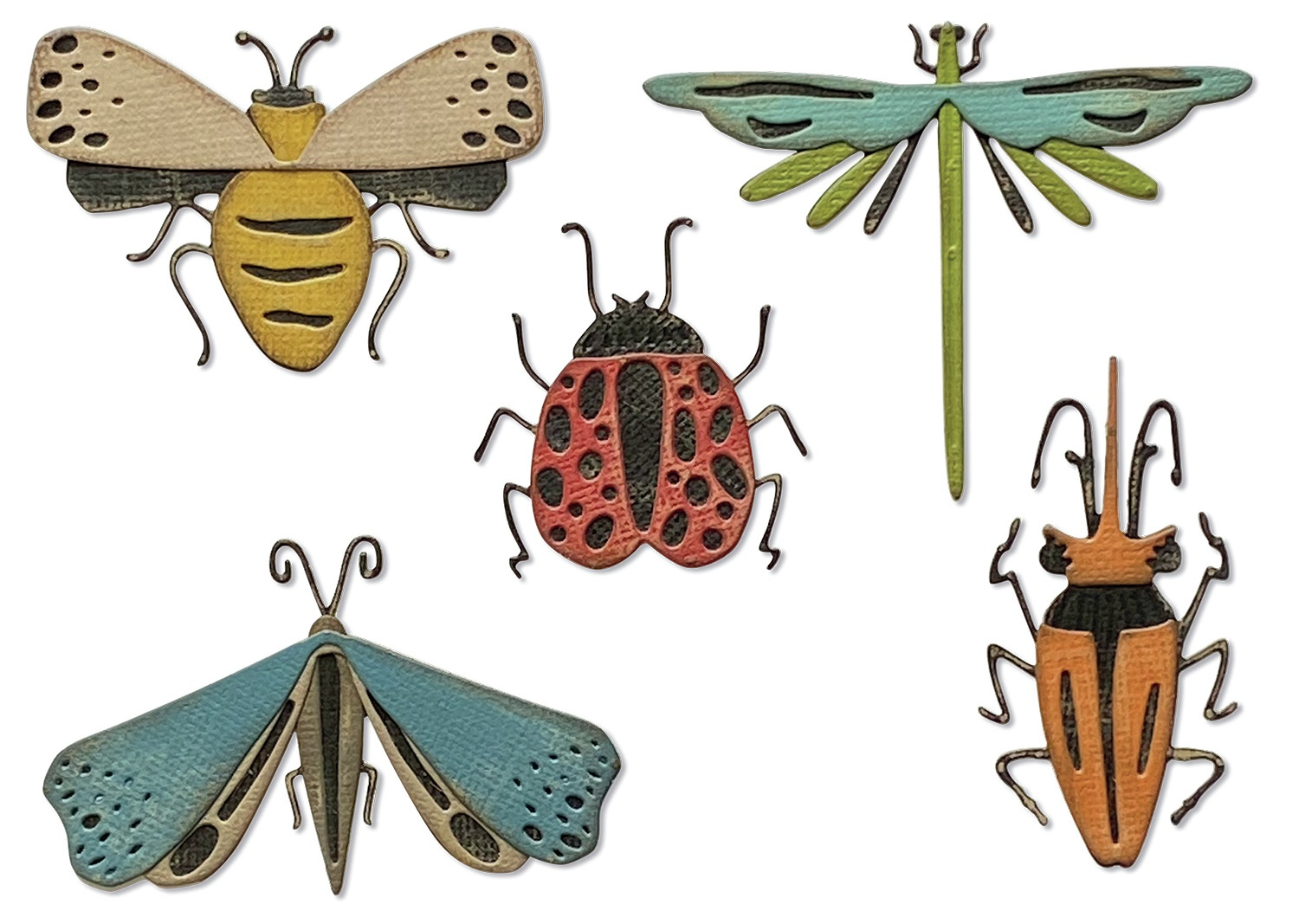 Sizzix Thinlits Dies By Tim Holtz 5/Pkg-Funky Insects