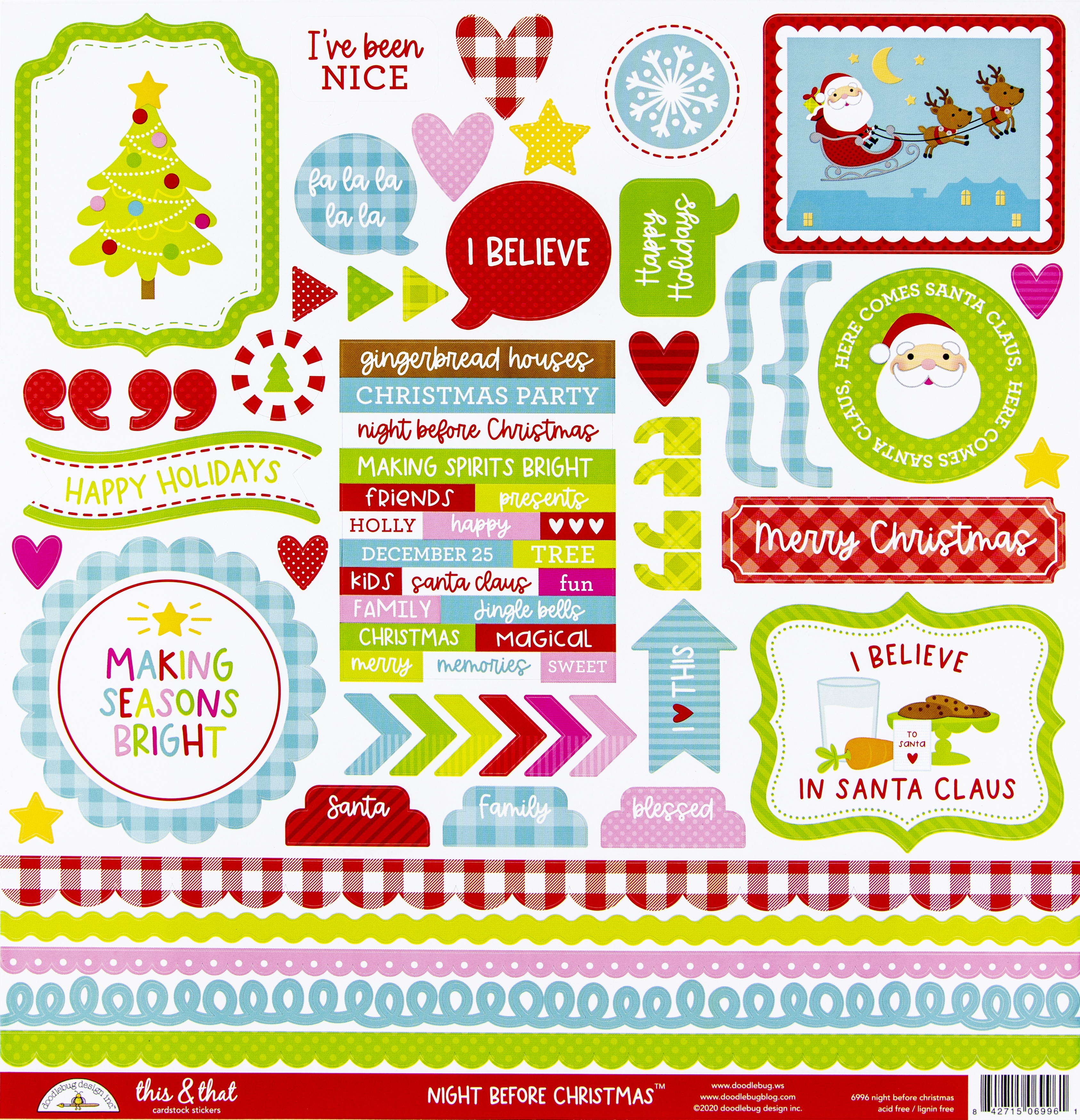 Doodlebug This & That Cardstock Stickers 12X12-Night Before Christmas