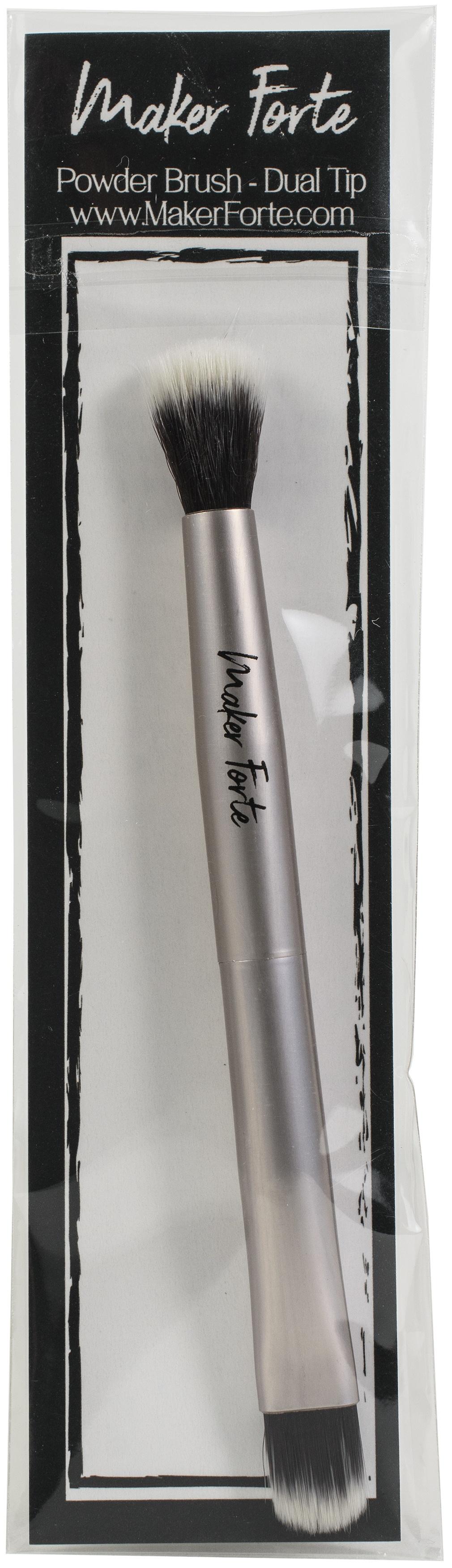 Maker Forte Dual Tip Powder Brush-Rose Gold