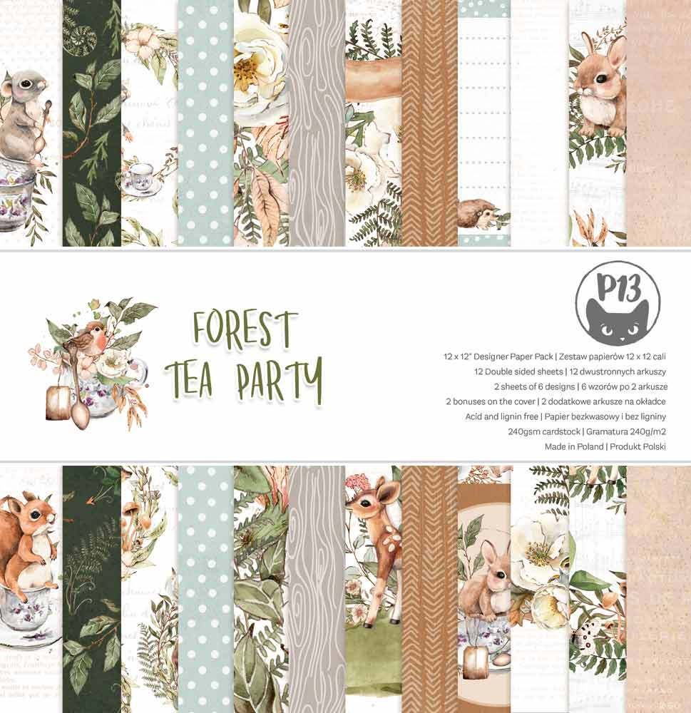 P13 Double-Sided Paper Pad 12X12 12/Pkg-Forest Tea Party
