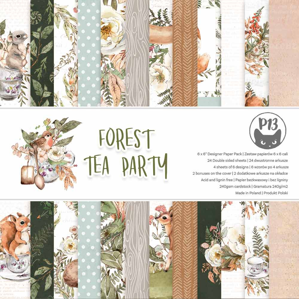 P13 Double-Sided Paper Pad 6X6 24/Pkg-Forest Tea Party