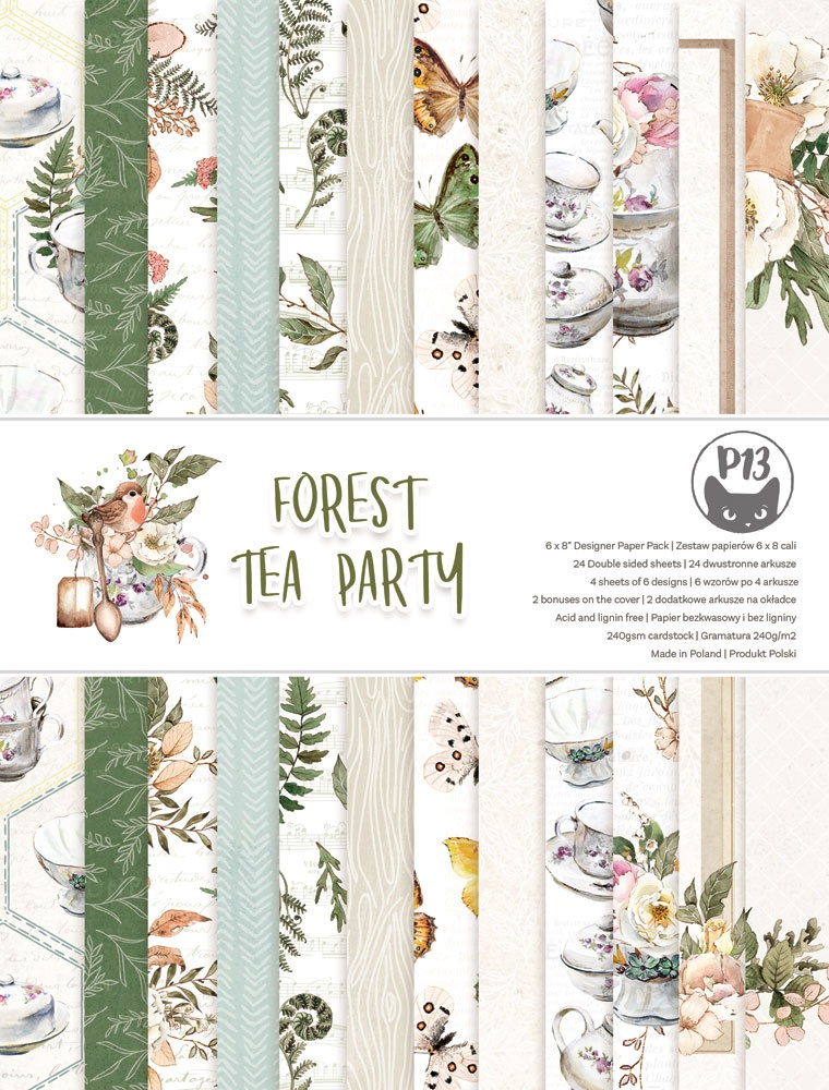 P13 Double-Sided Paper Pad 6X8 24/Pkg-Forest Tea Party