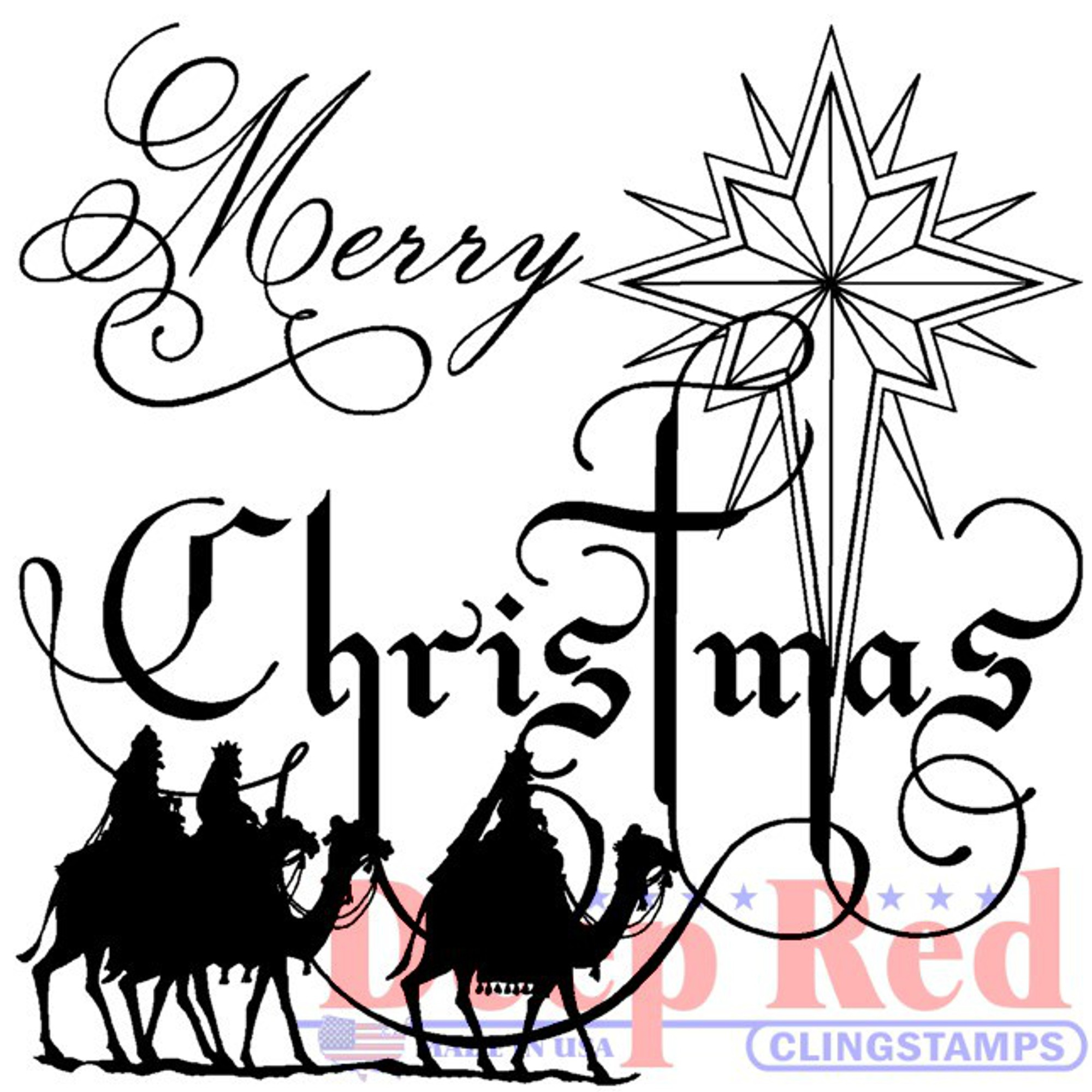 Deep Red Cling Stamp 2.1X2-Wise Men Christmas
