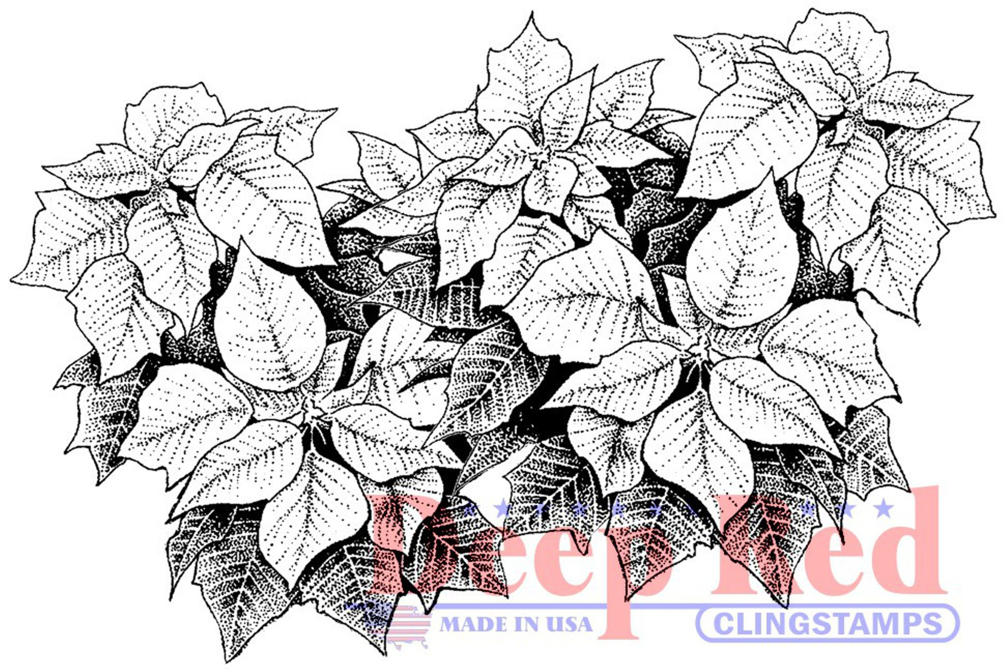 Deep Red Cling Stamp 3.25X2-Poinsettia Border