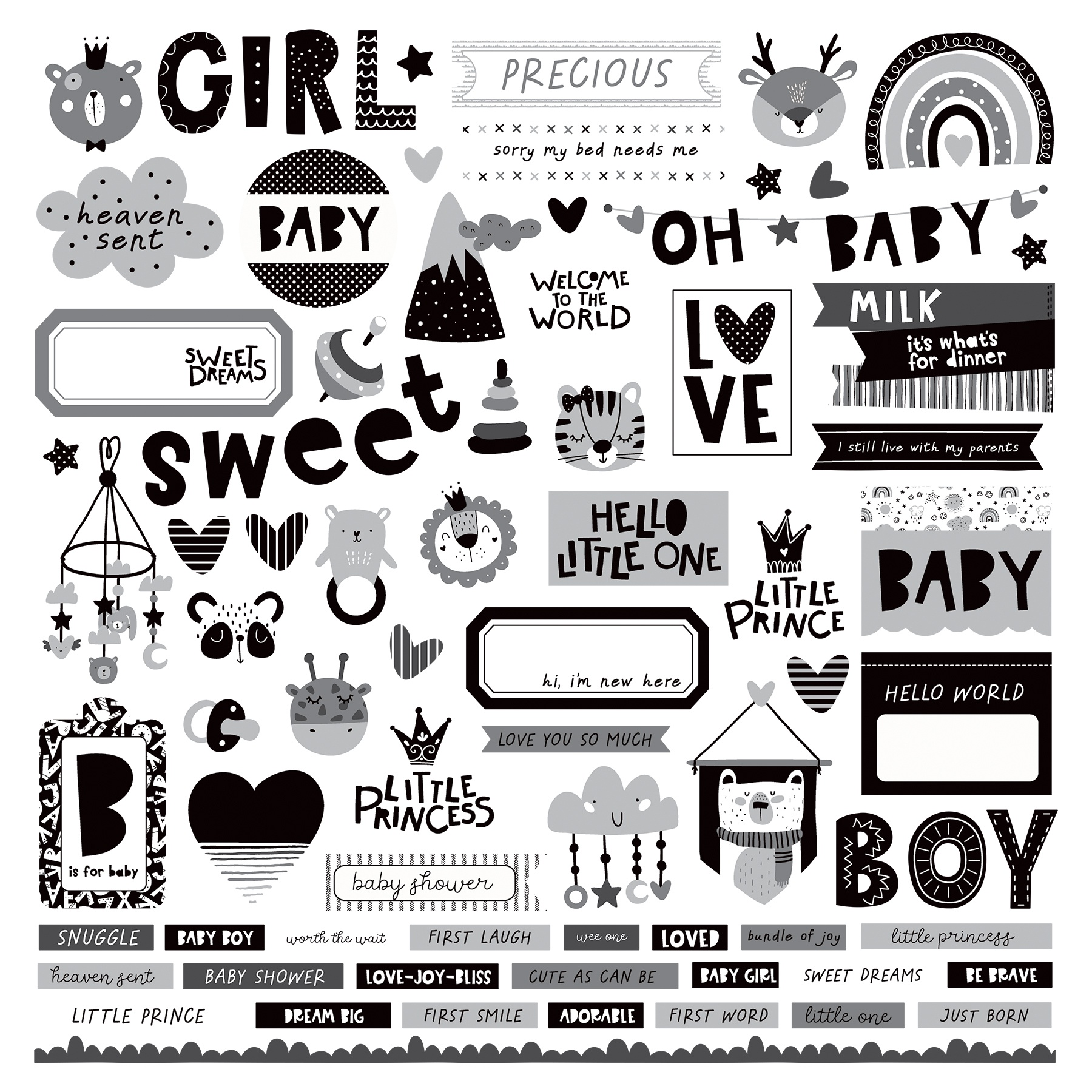 PhotoPlay - Little One - 12x12 Element Sticker Sheet