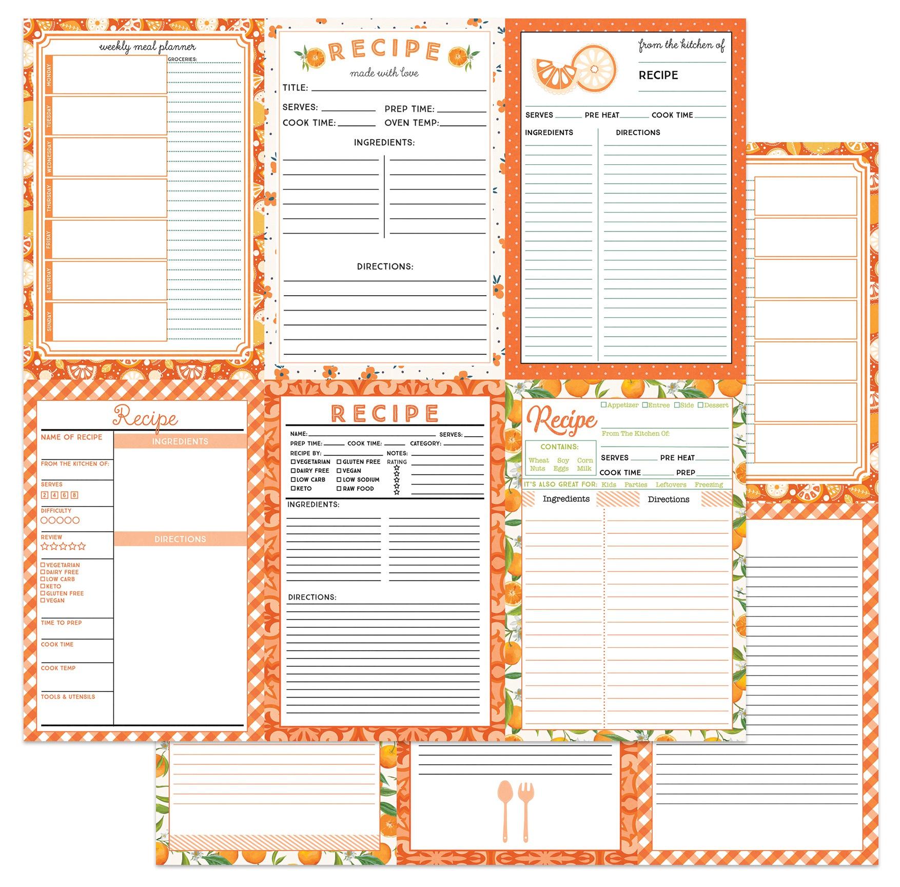ColorPlay - Happy Fruit - Orange Recipe Card Paper