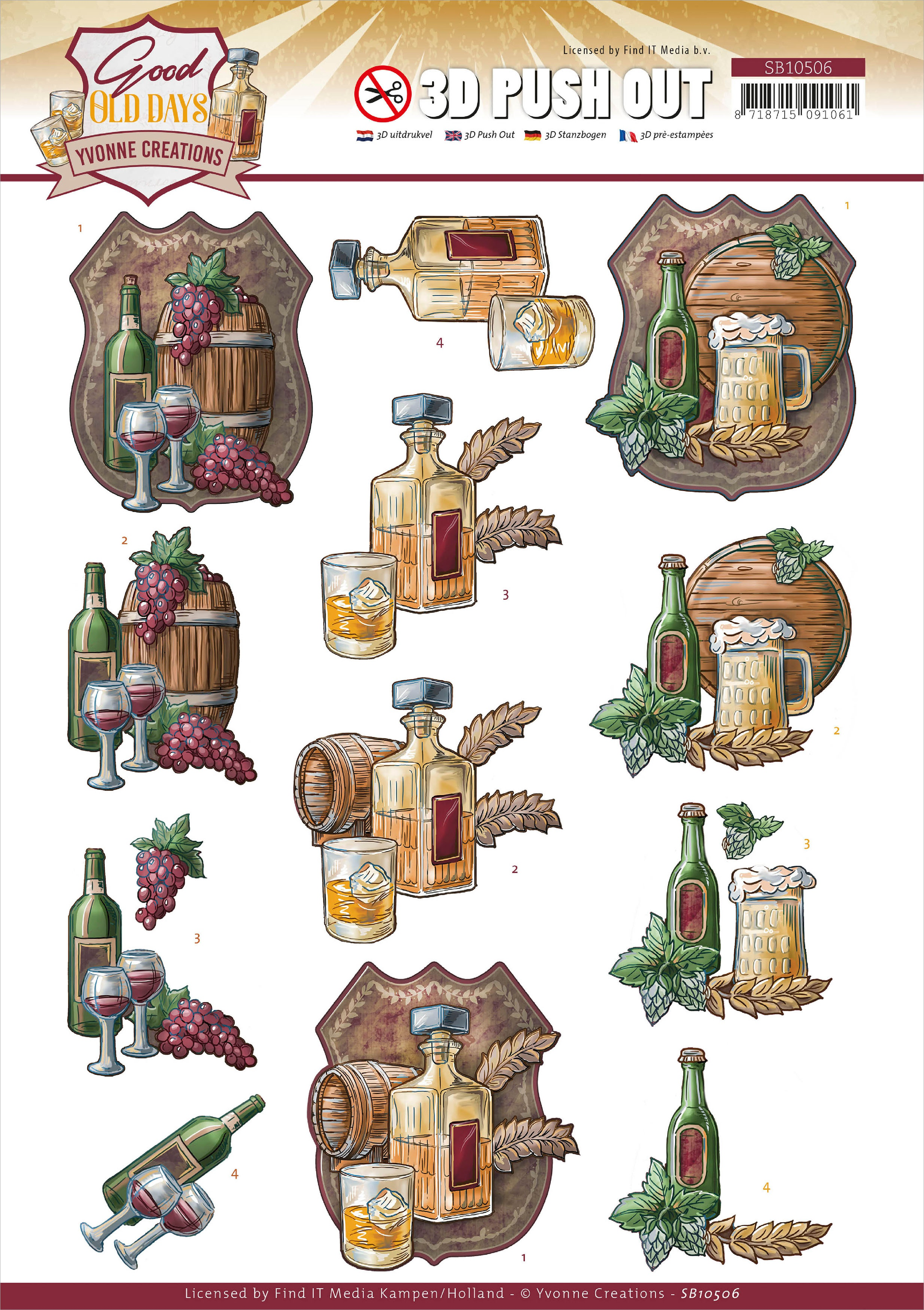 Find It Trading Yvonne Creations Punchout Sheet-Whiskey, Good Old Days