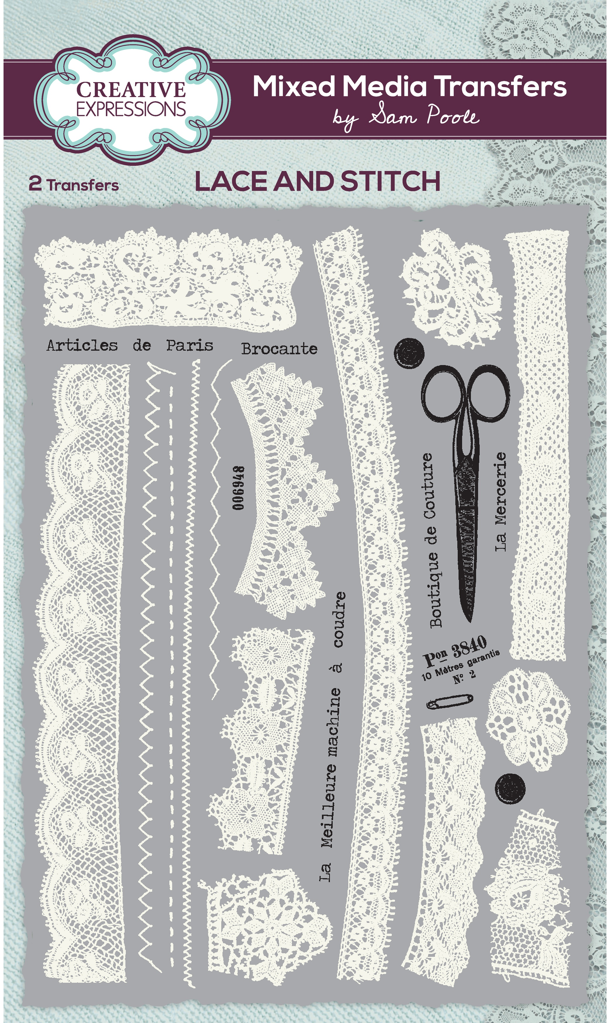 Creative Expressions Mixed Media Transfers By Sam Poole-Lace & Stitch
