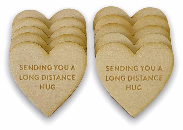 My Favorite Things Wood Friendship Tokens 10/Pkg-Heart -Long Distance Hug