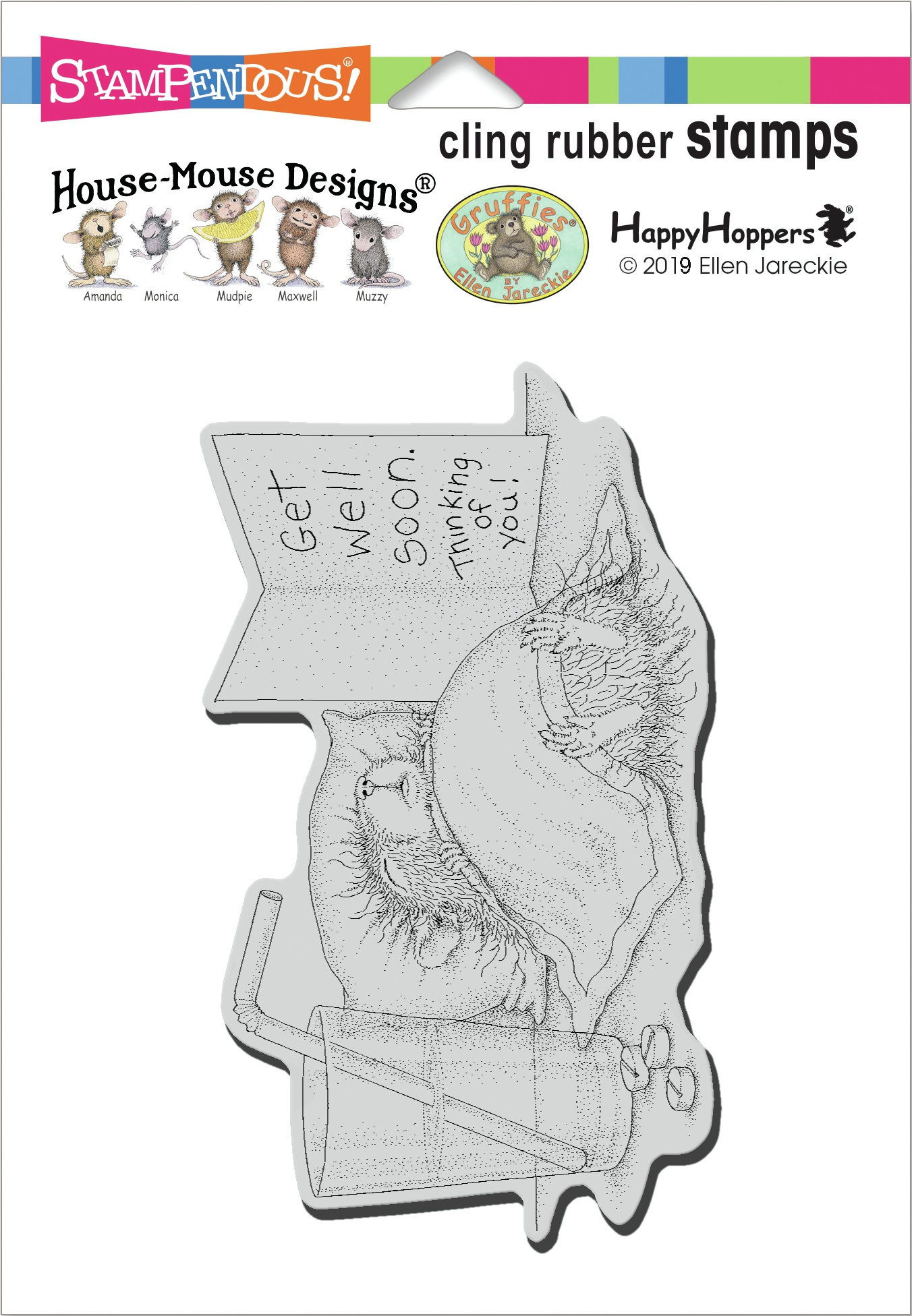 SD House Mouse Cling Stamp-Get Well Soon