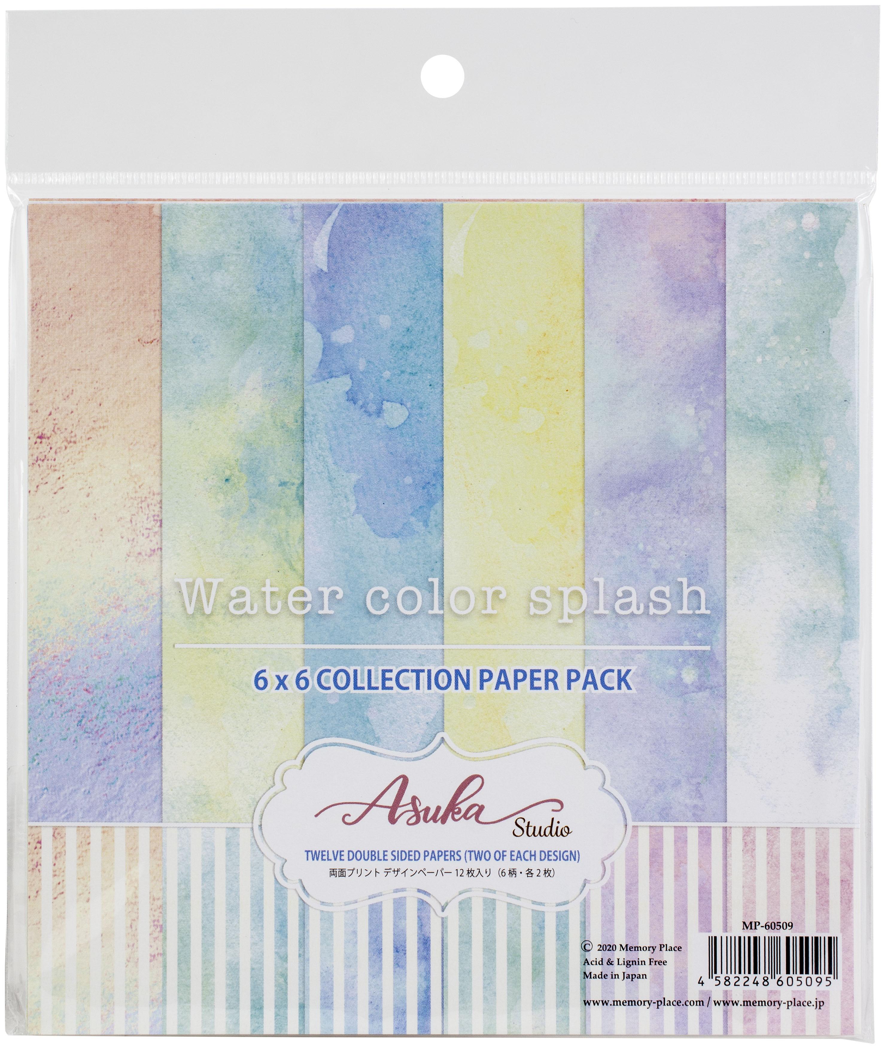 Asuka Studio Double-Sided Paper Pack 6X6 12/Pkg-Watercolor Splash