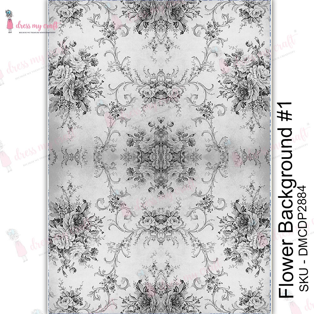 Dress My Craft Transfer Me Sheet A4-Flower Background #1