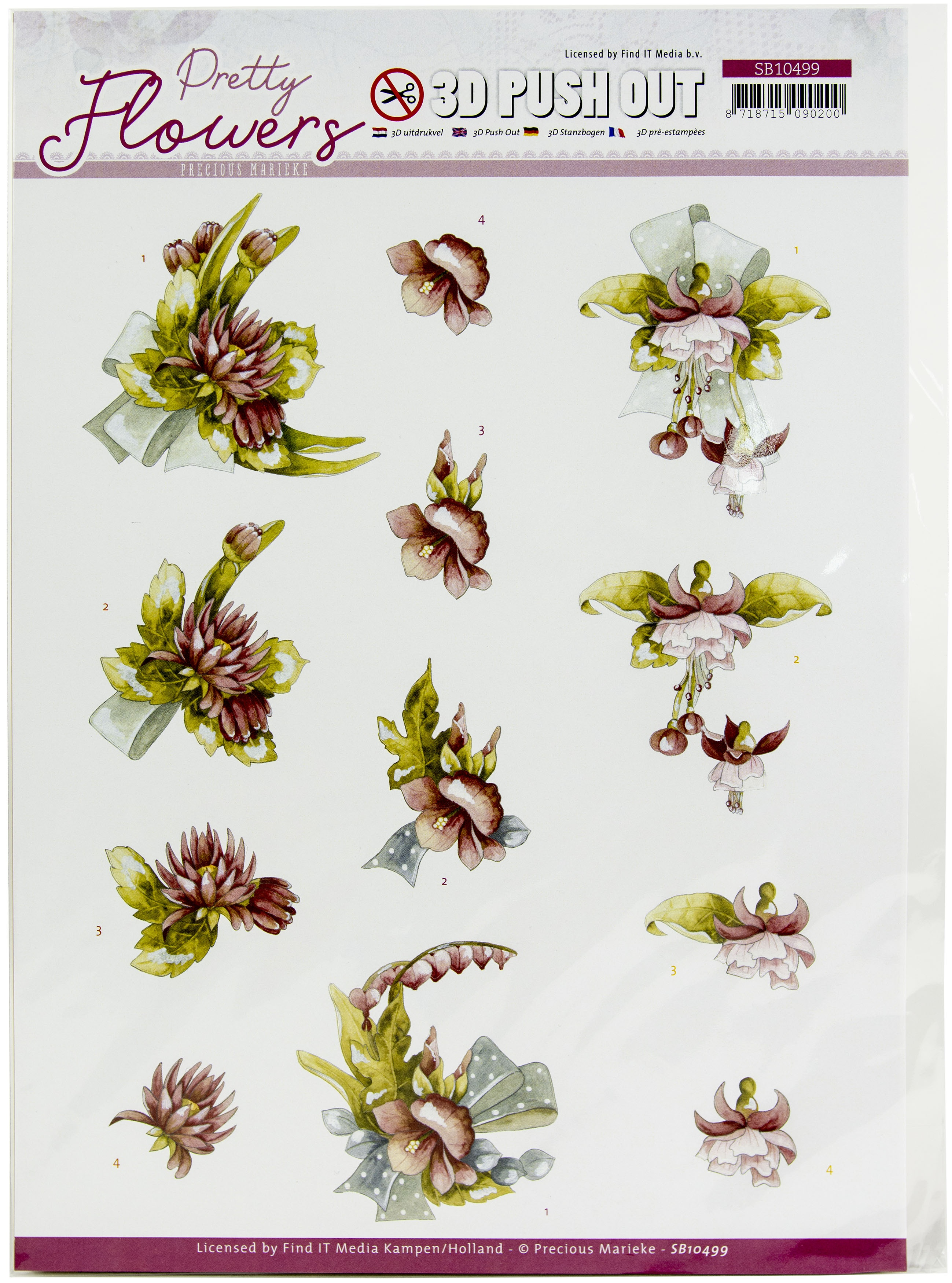 Find It Trading Precious Marieke Punchout Sheet-Red Flowers, Pretty Flowers