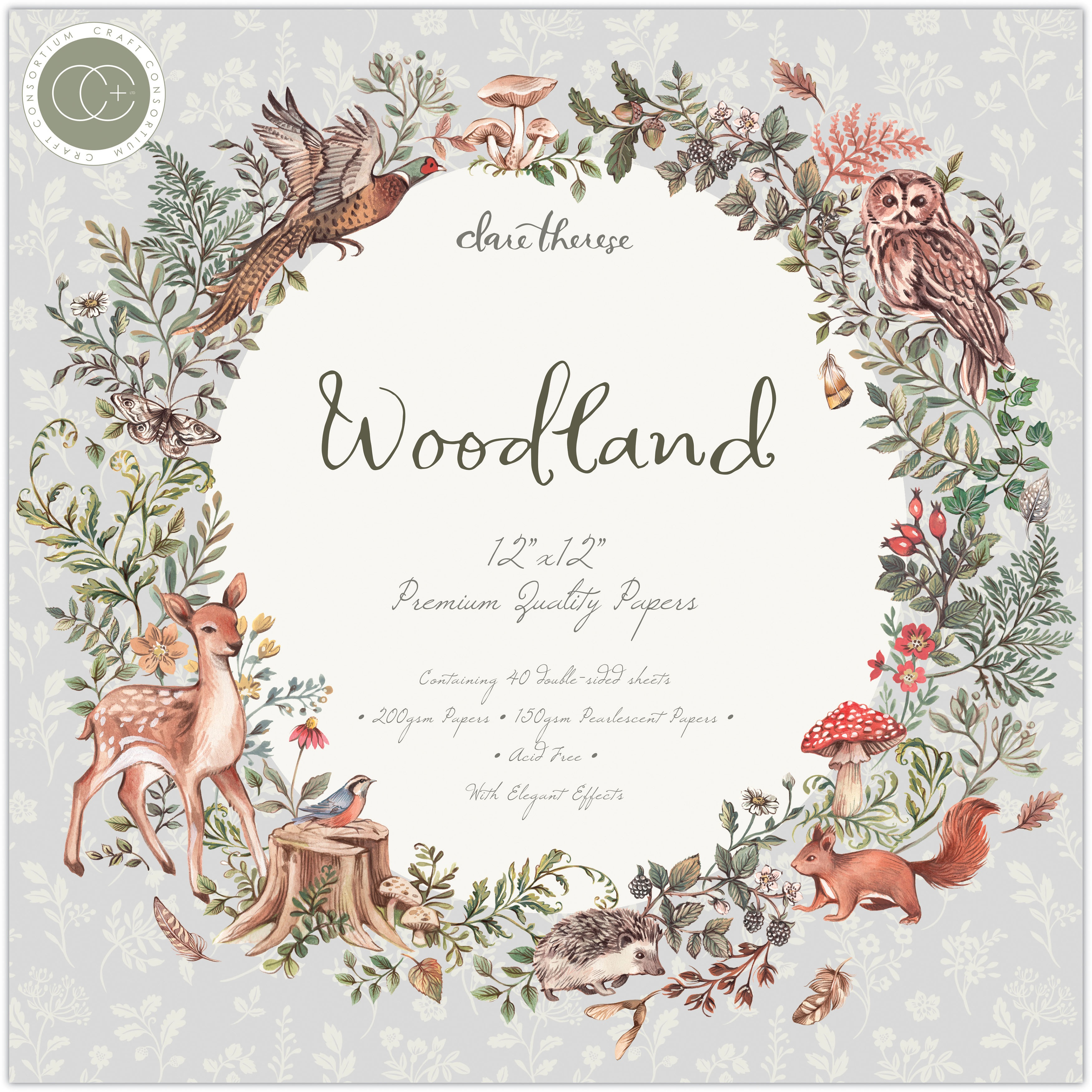 Craft Consortium Double-Sided Paper Pad 12X12 40/Pkg-Woodland