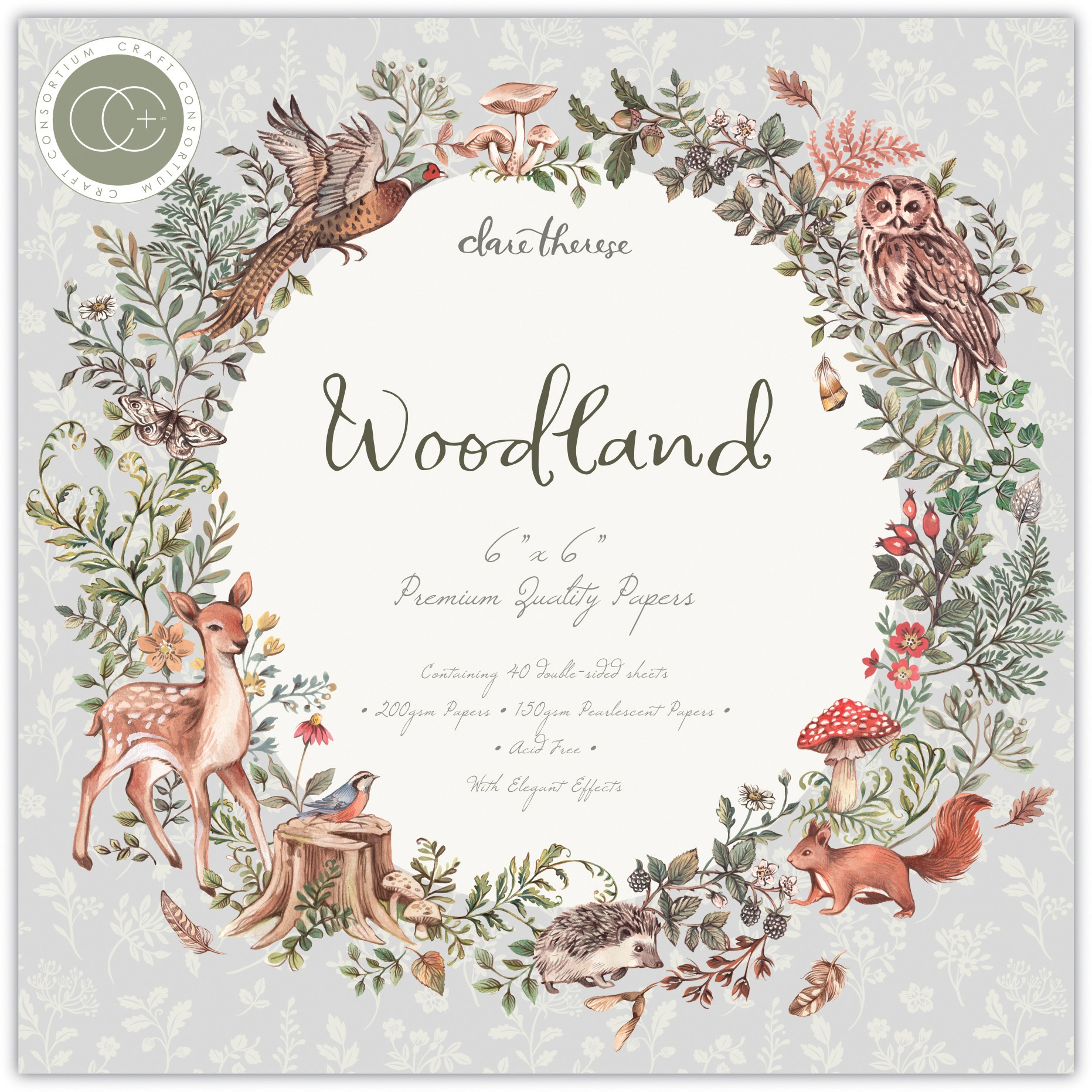 Craft Consortium Double-Sided Paper Pad 6X6 40/Pkg-Woodland