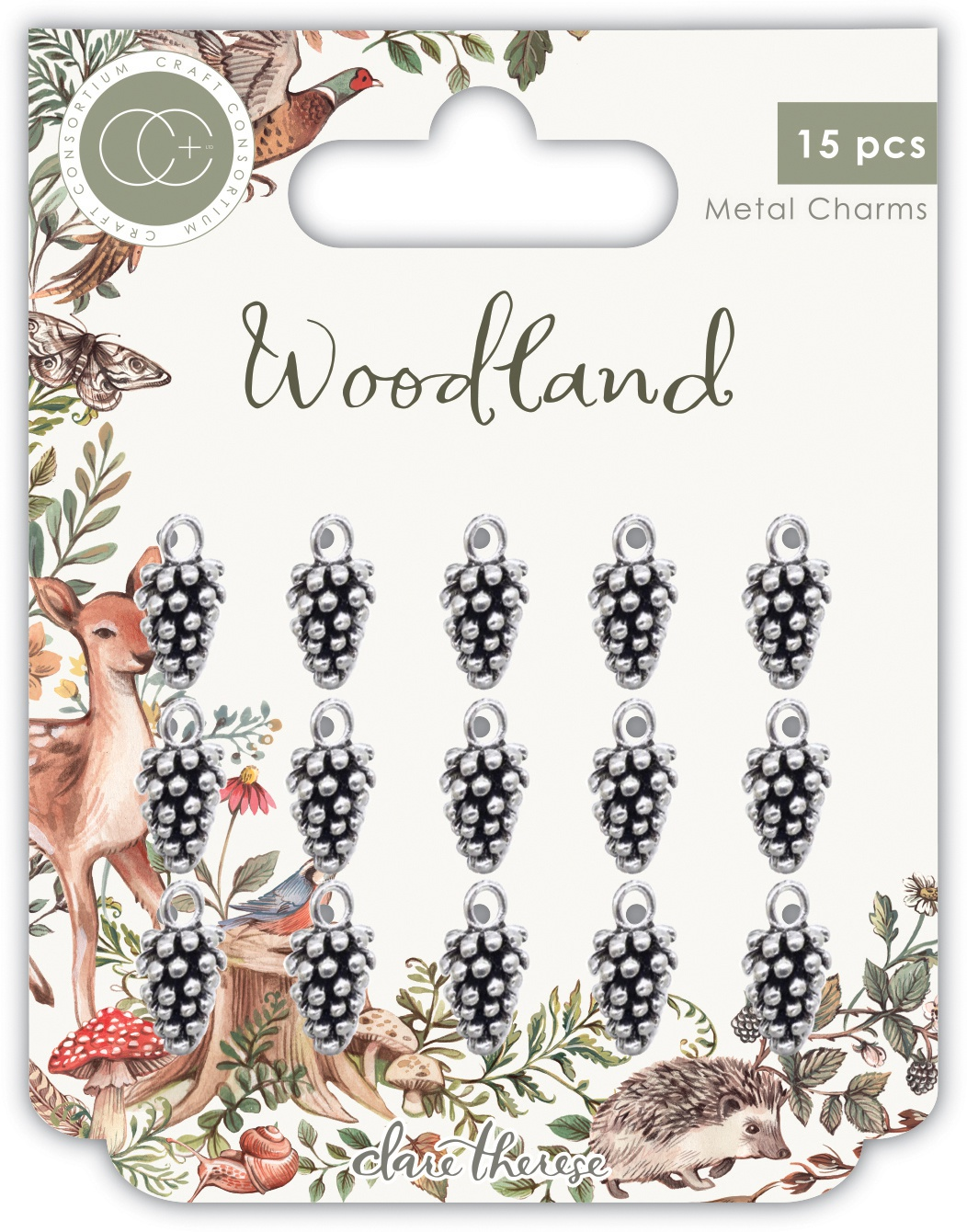 Craft Consortium Woodland Metal Charms 15/Pkg-Silver Pine Comb