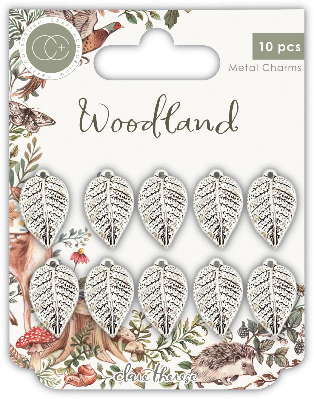 Craft Consortium Woodland Metal Charms 10/Pkg-Silver Leaf