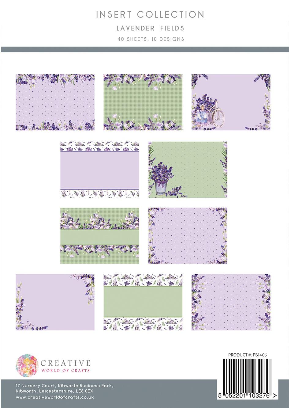 The Paper Boutique Insert Collection A4 40/Pkg-Lavender Fields, 10 Designs