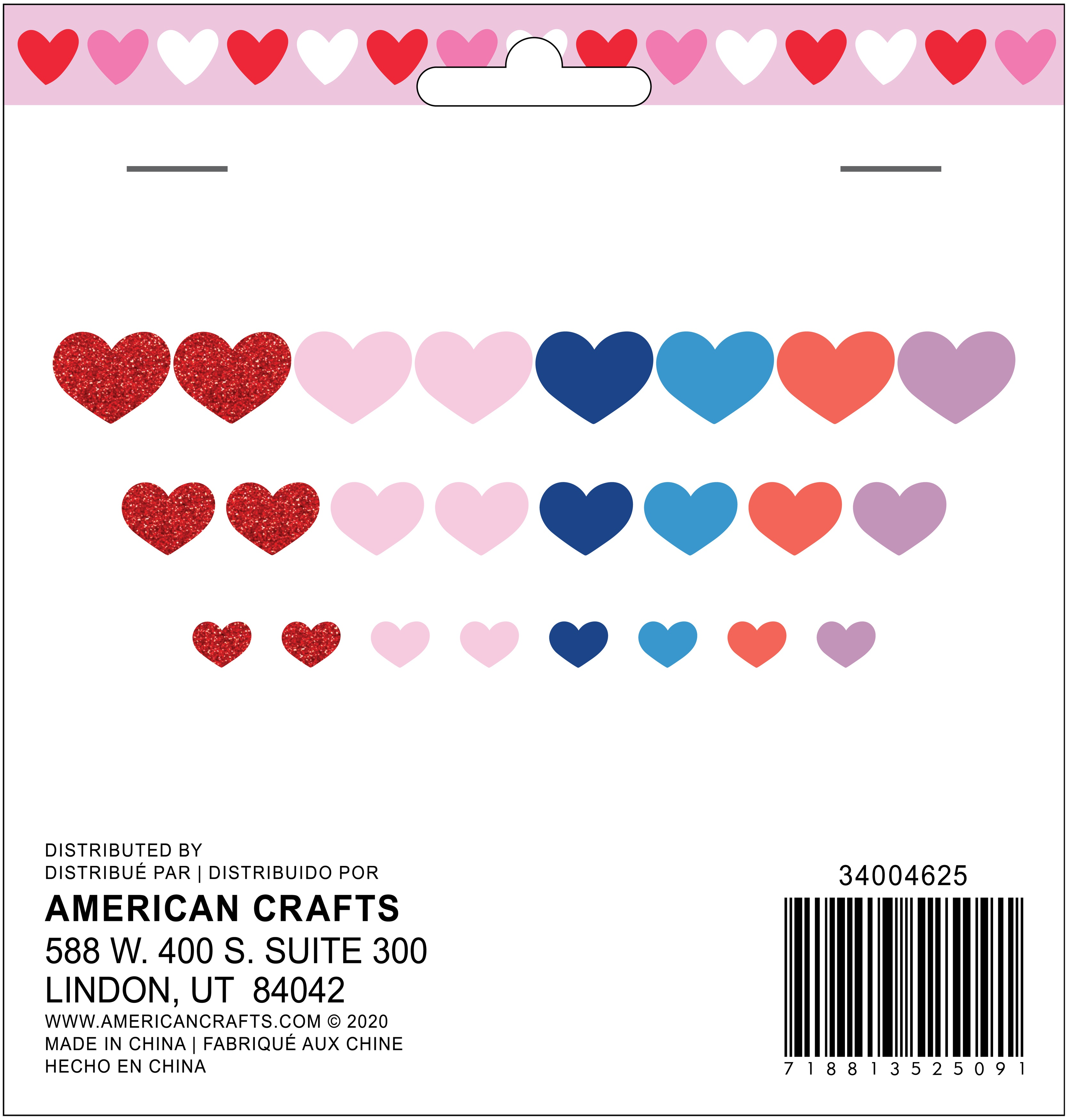 American Crafts Valentine Foam Stickers 24/Pkg-Hearts