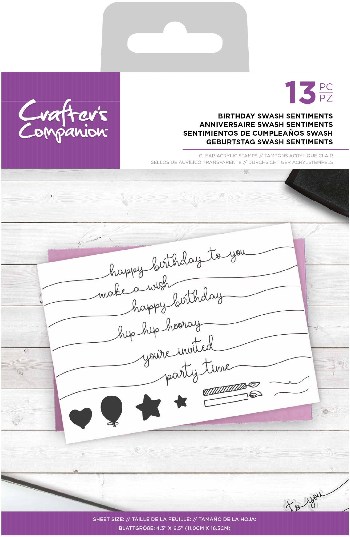 Crafter's Companion Clear Stamps-Birthday Swash Sentiments