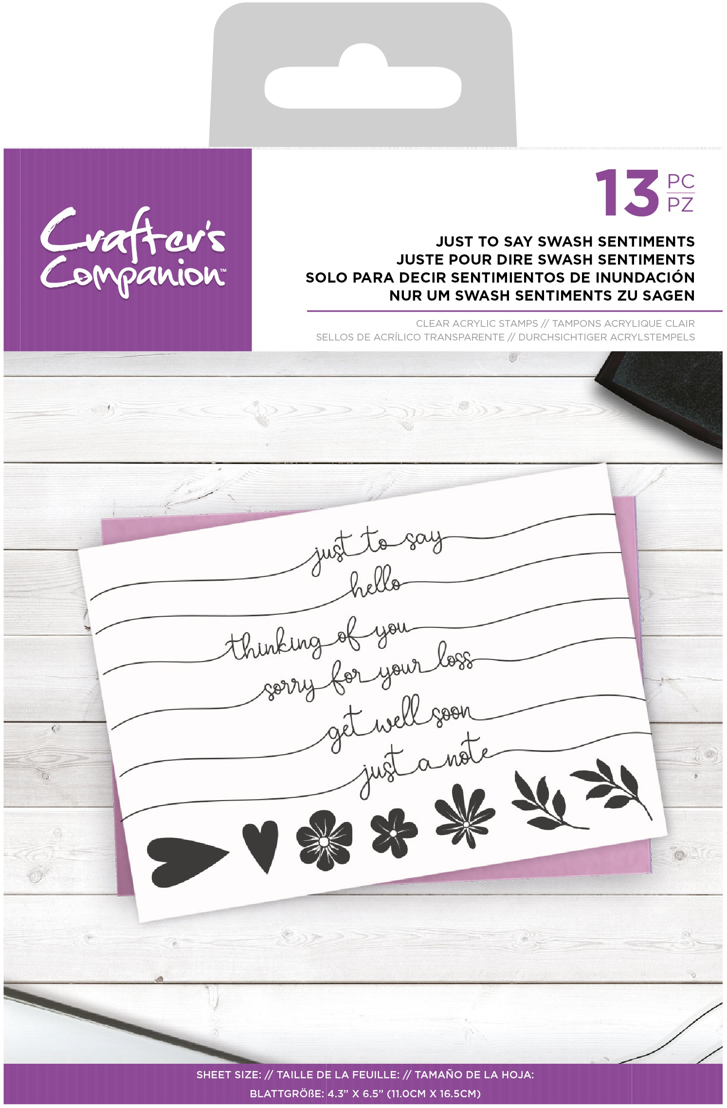 Crafter's Companion Clear Stamps-Just To Say Swash Sentiments