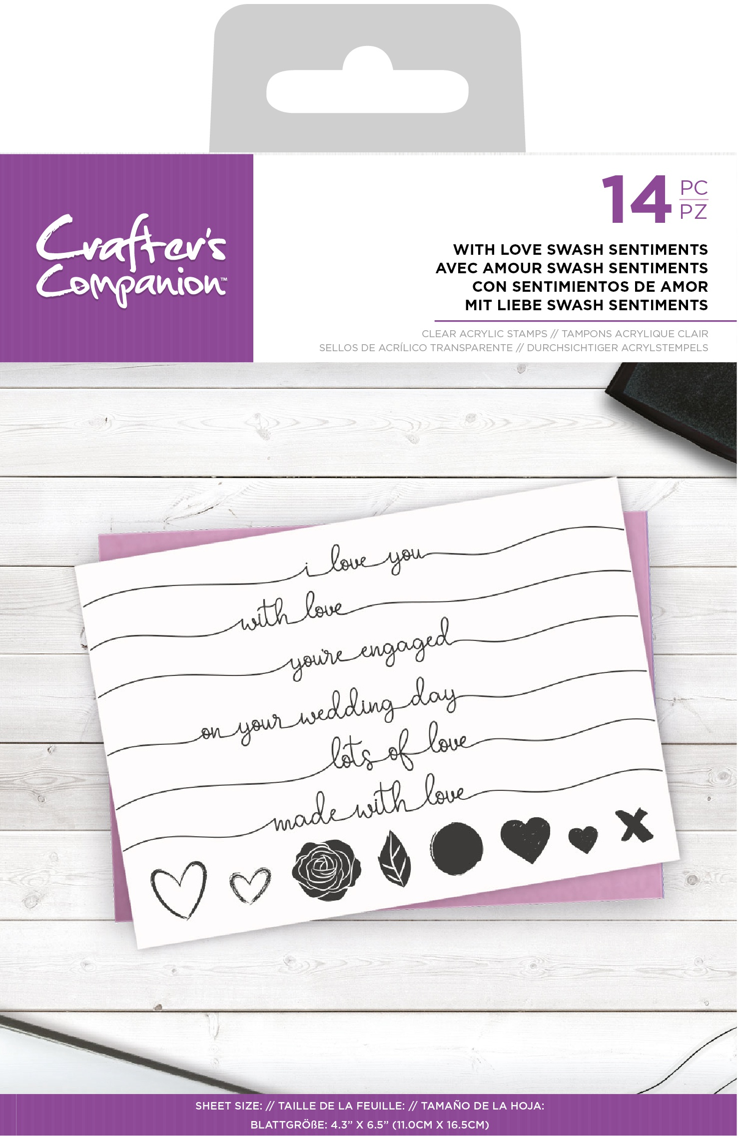 Crafter's Companion Clear Stamps-With Love Swash Sentiments