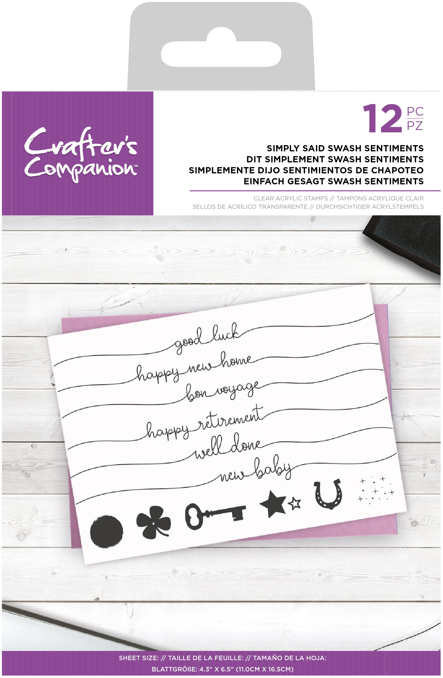 Crafter's Companion Clear Stamps-Simply Said Swash Sentiments