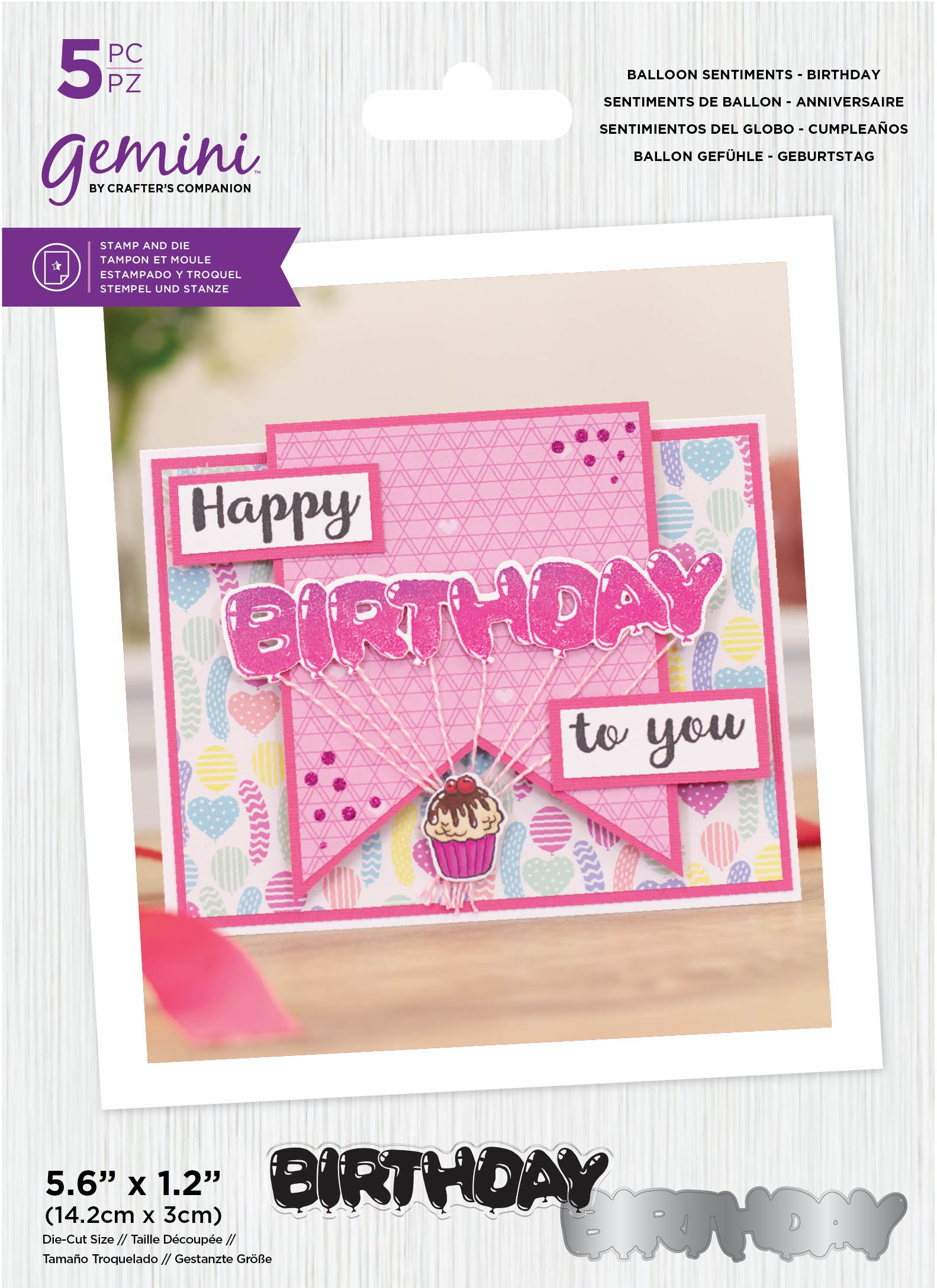 Crafter's Companion Gemini Clear Stamps & Dies-Birthday -Balloon Sentiments