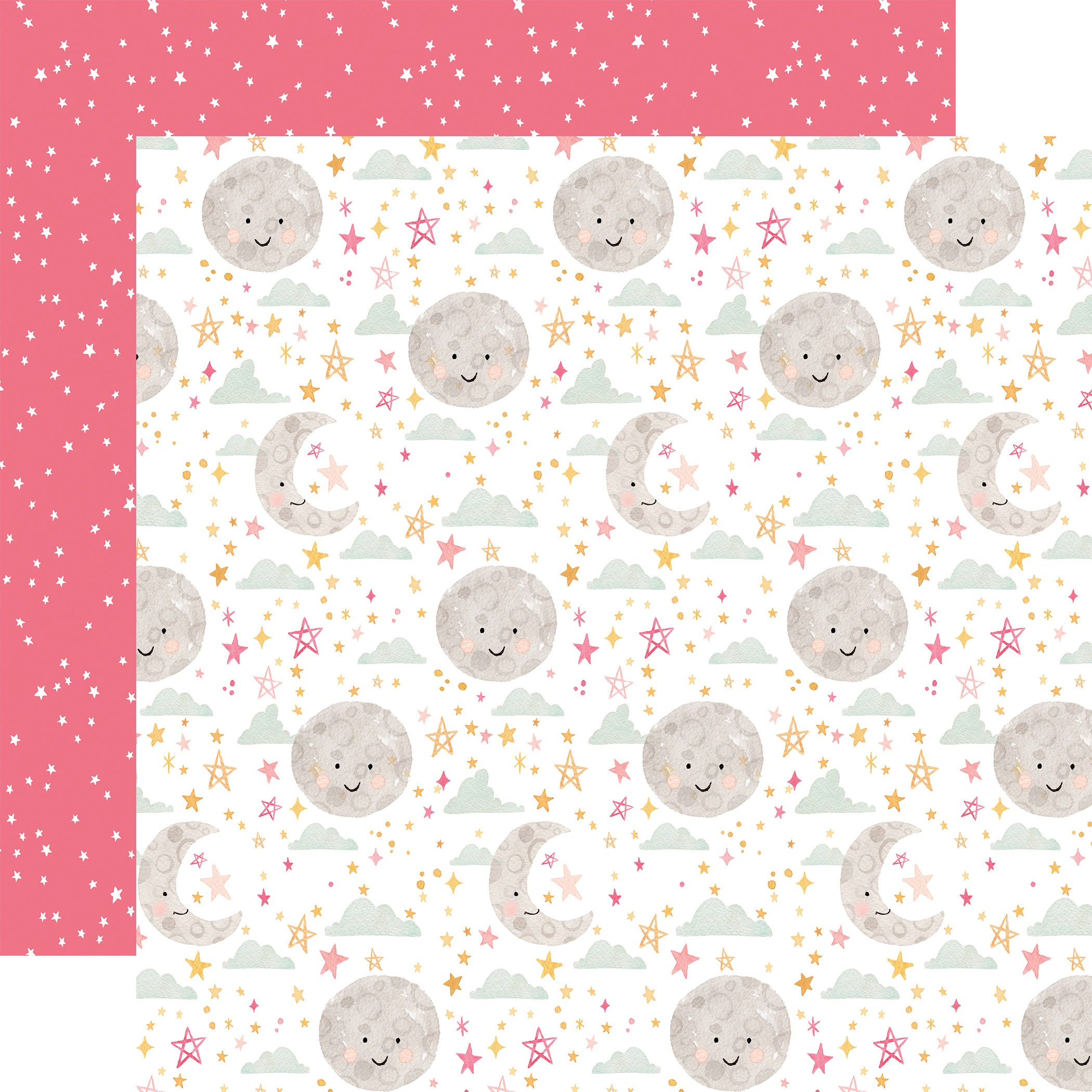Echo Park - Welcome Baby Girl - MOON AND STARS - 12x12 Double-Sided Paper