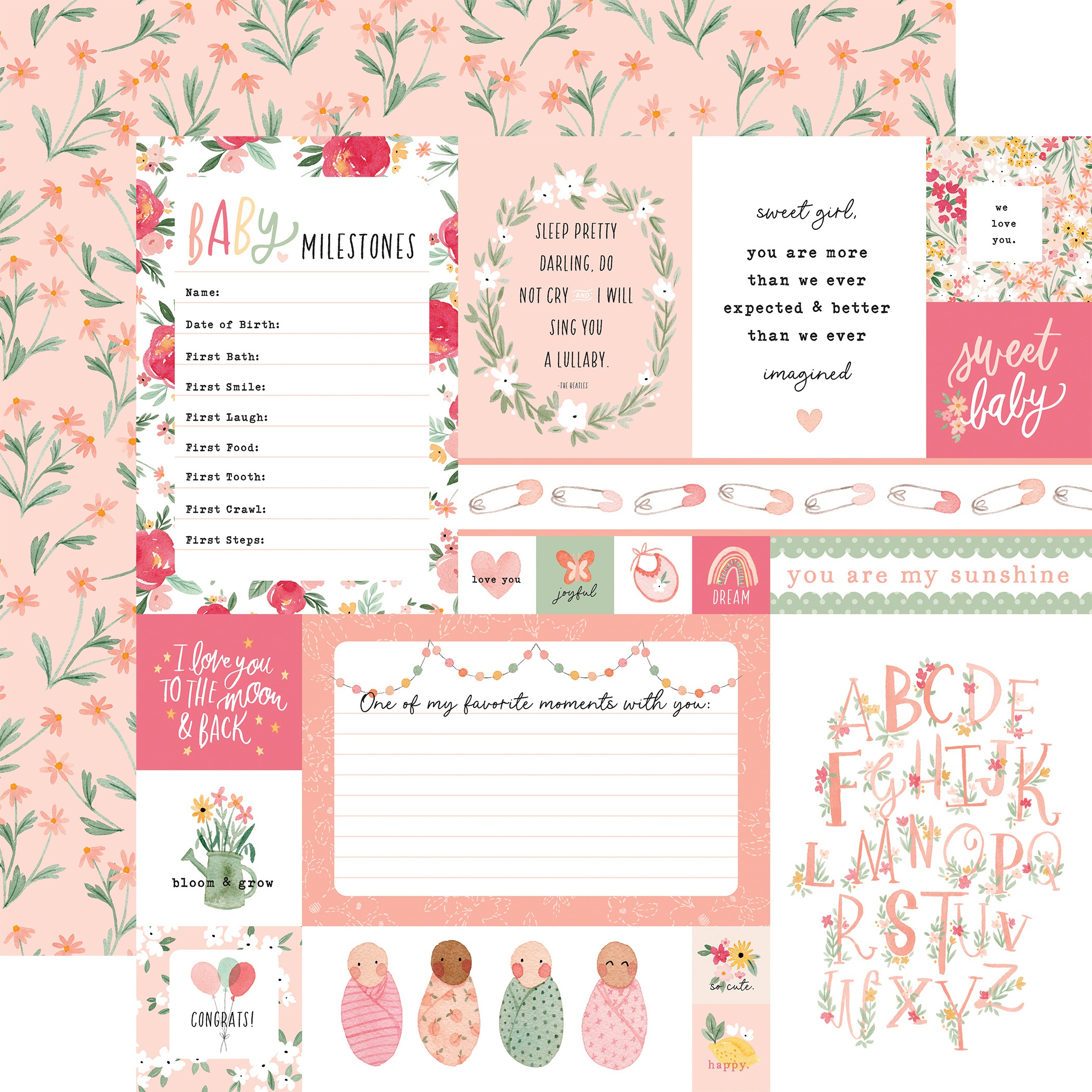 Echo Park - Welcome Baby Girl - MULIT JOURNALING CARDS - 12x12 Double-Sided Paper