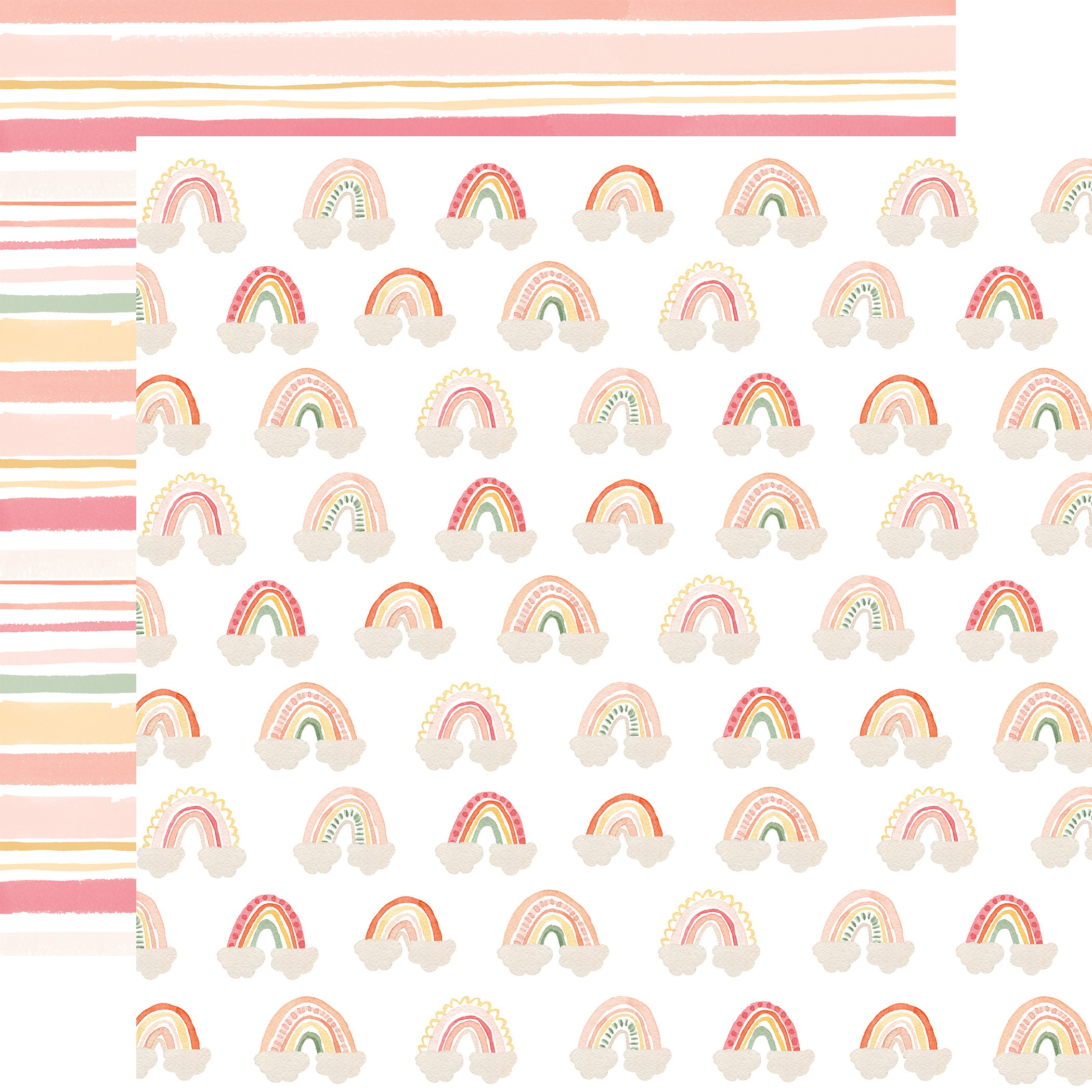 Echo Park - Welcome Baby Girl - RAINBOWS - 12x12 Double-Sided Paper