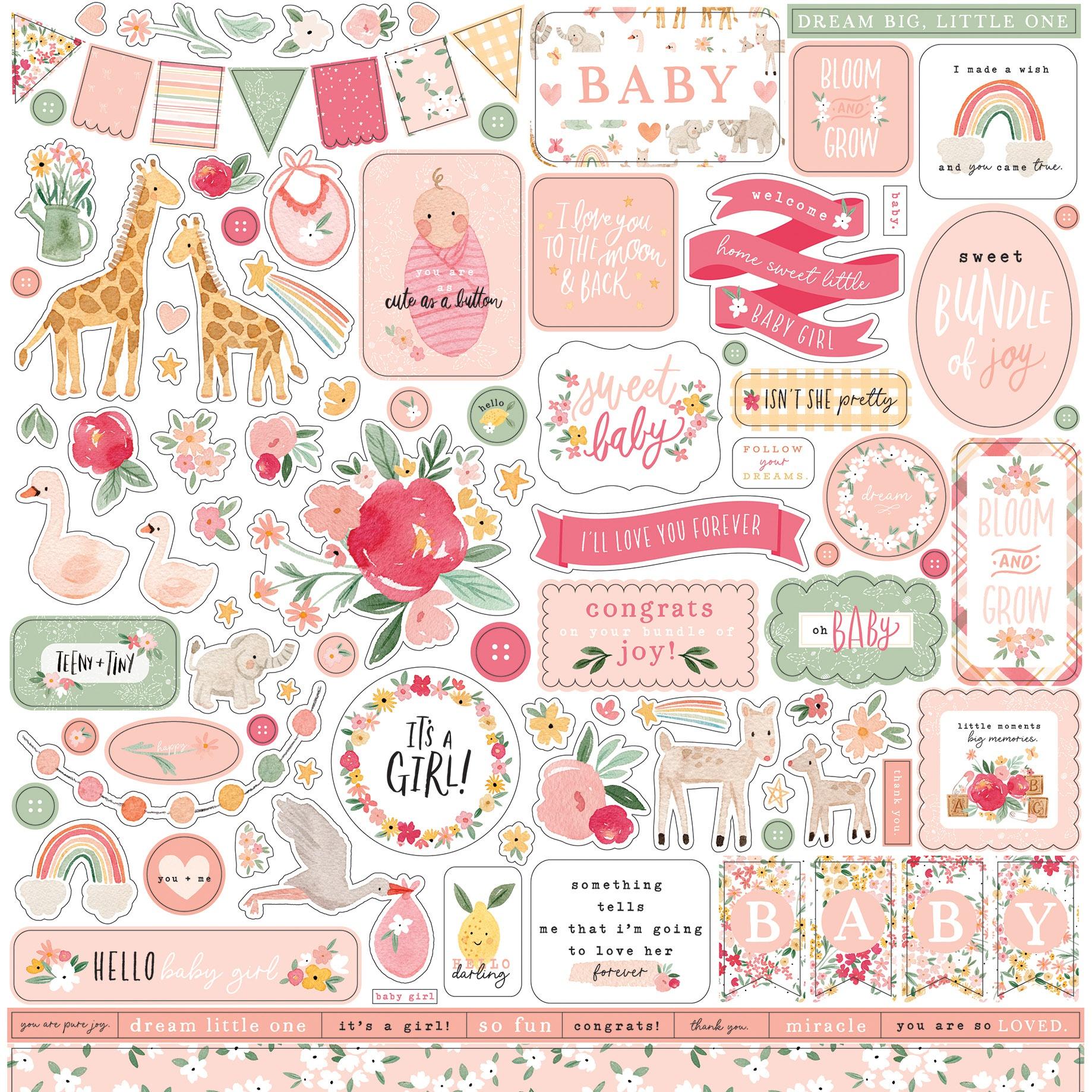Echo Park - Welcome Baby Girl - 12x12 Element Sticker Sheet