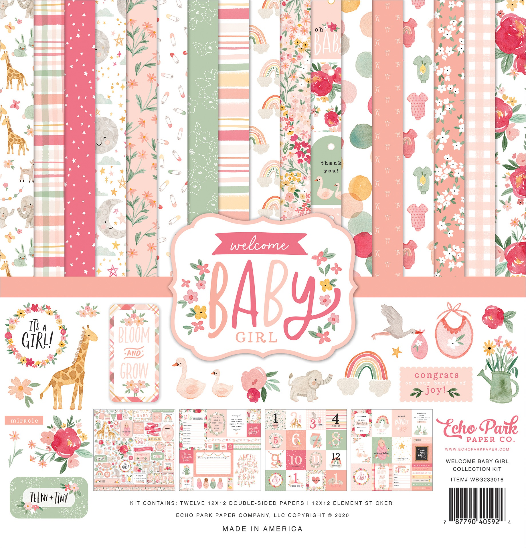 Echo Park Collection Kit 12X12-Welcome Baby Girl