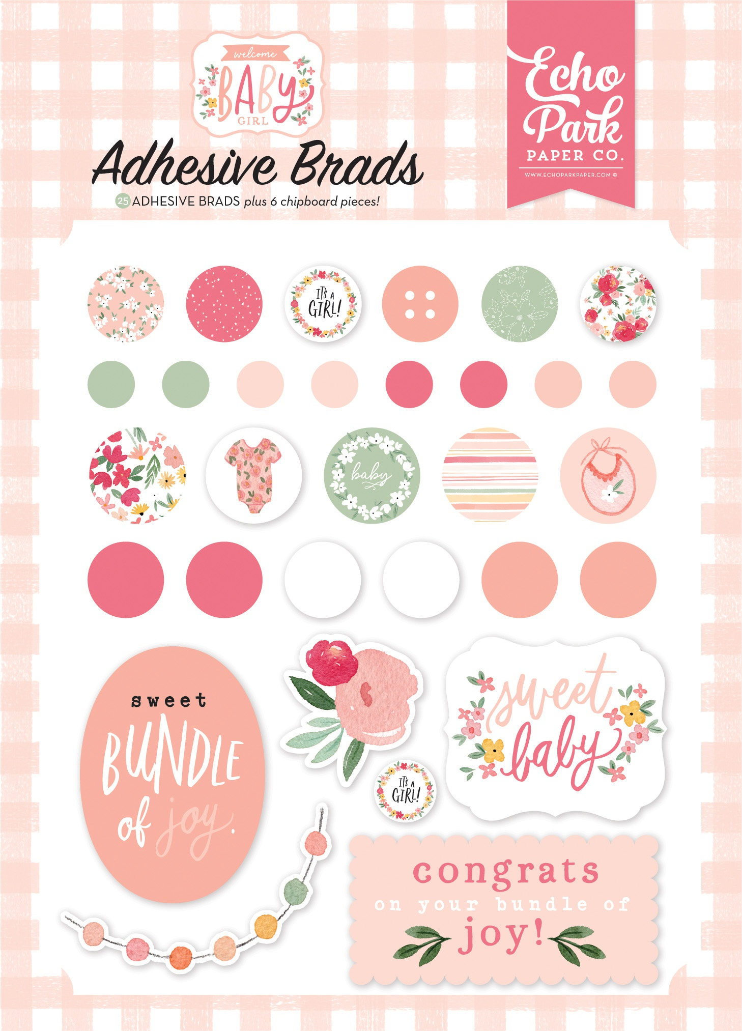 Echo Park - Welcome Baby Girl - Adhesive Brads