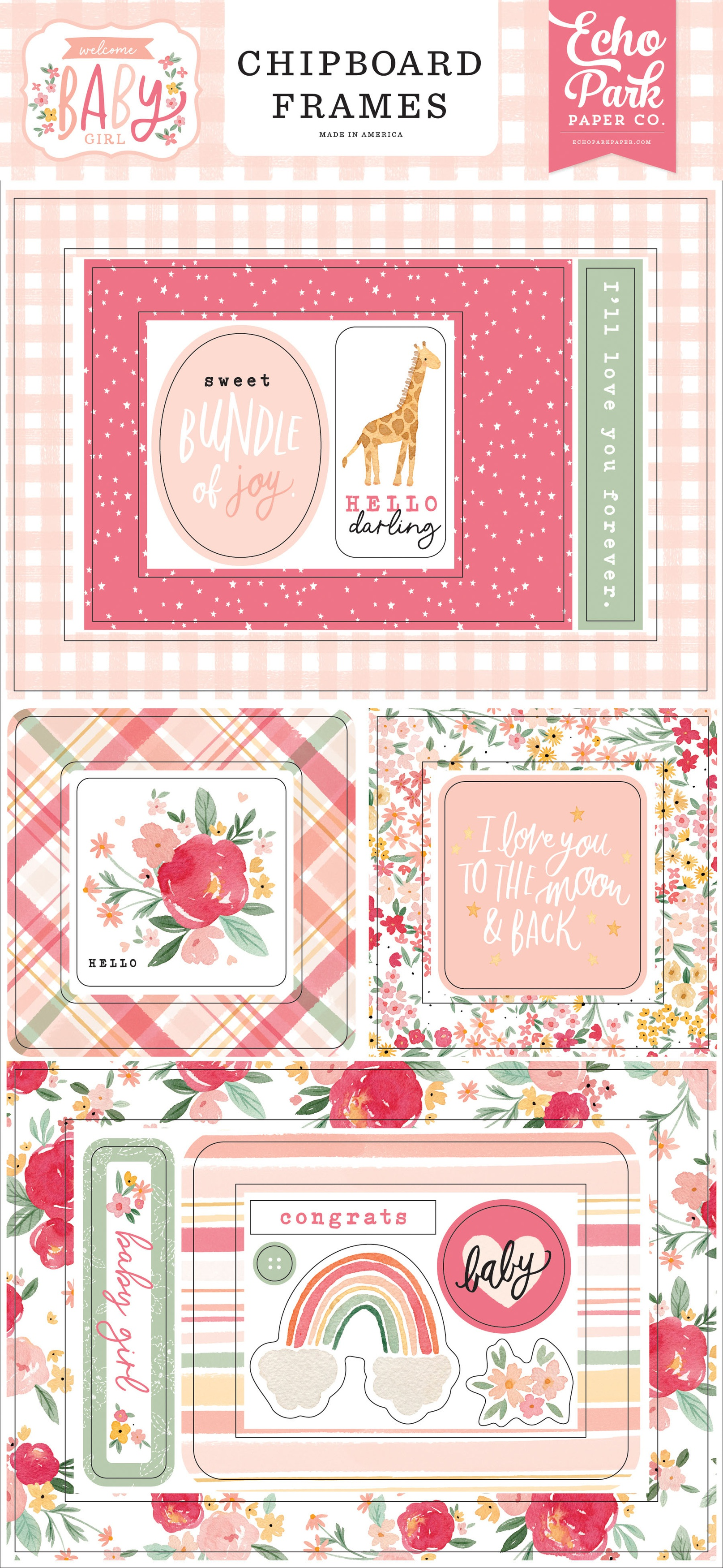 Echo Park - Welcome Baby Girl - Chipboard Frames