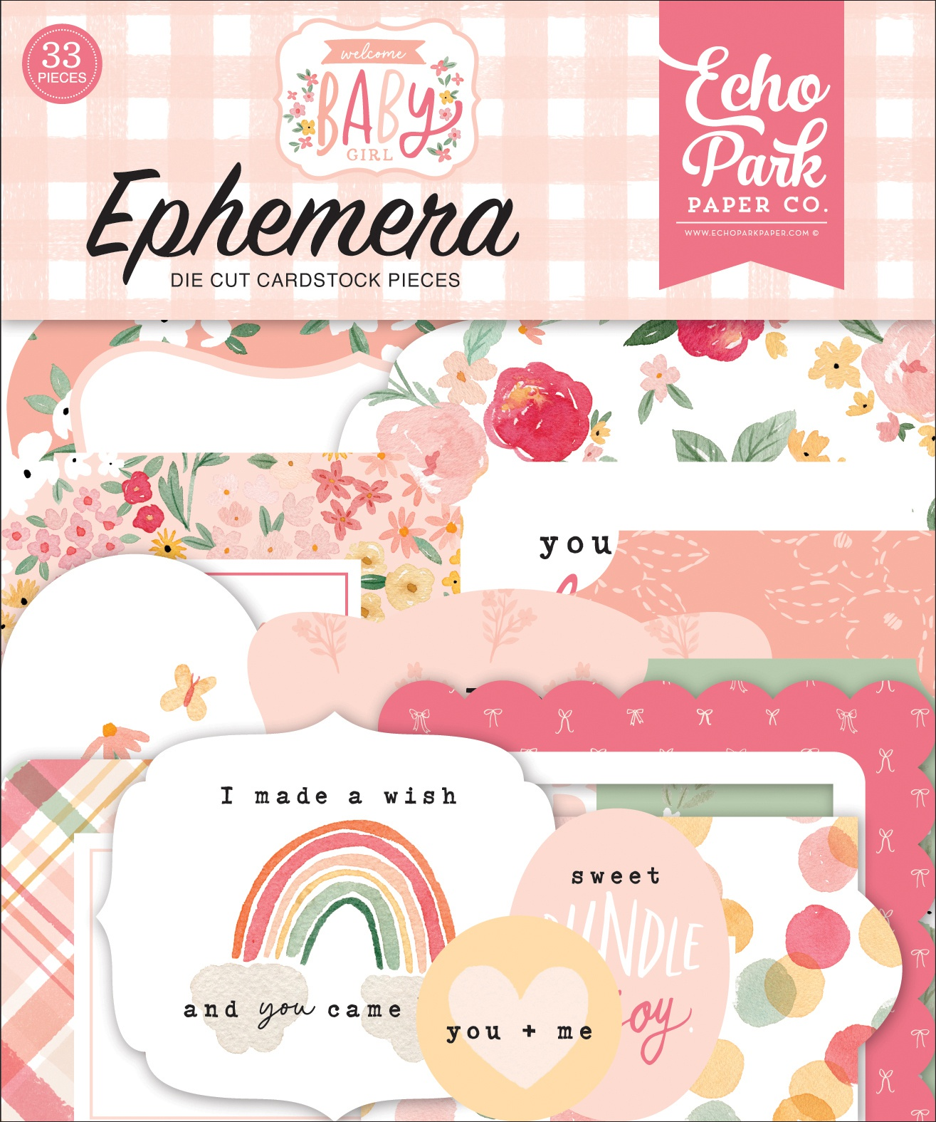 Echo Park Cardstock Ephemera 33/Pkg-Icons, Welcome Baby Girl