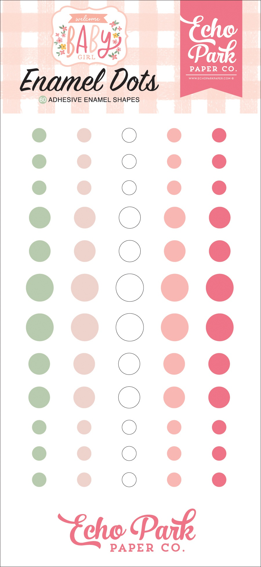 Echo Park Adhesive Enamel Dots 60/Pkg-Welcome Baby Girl