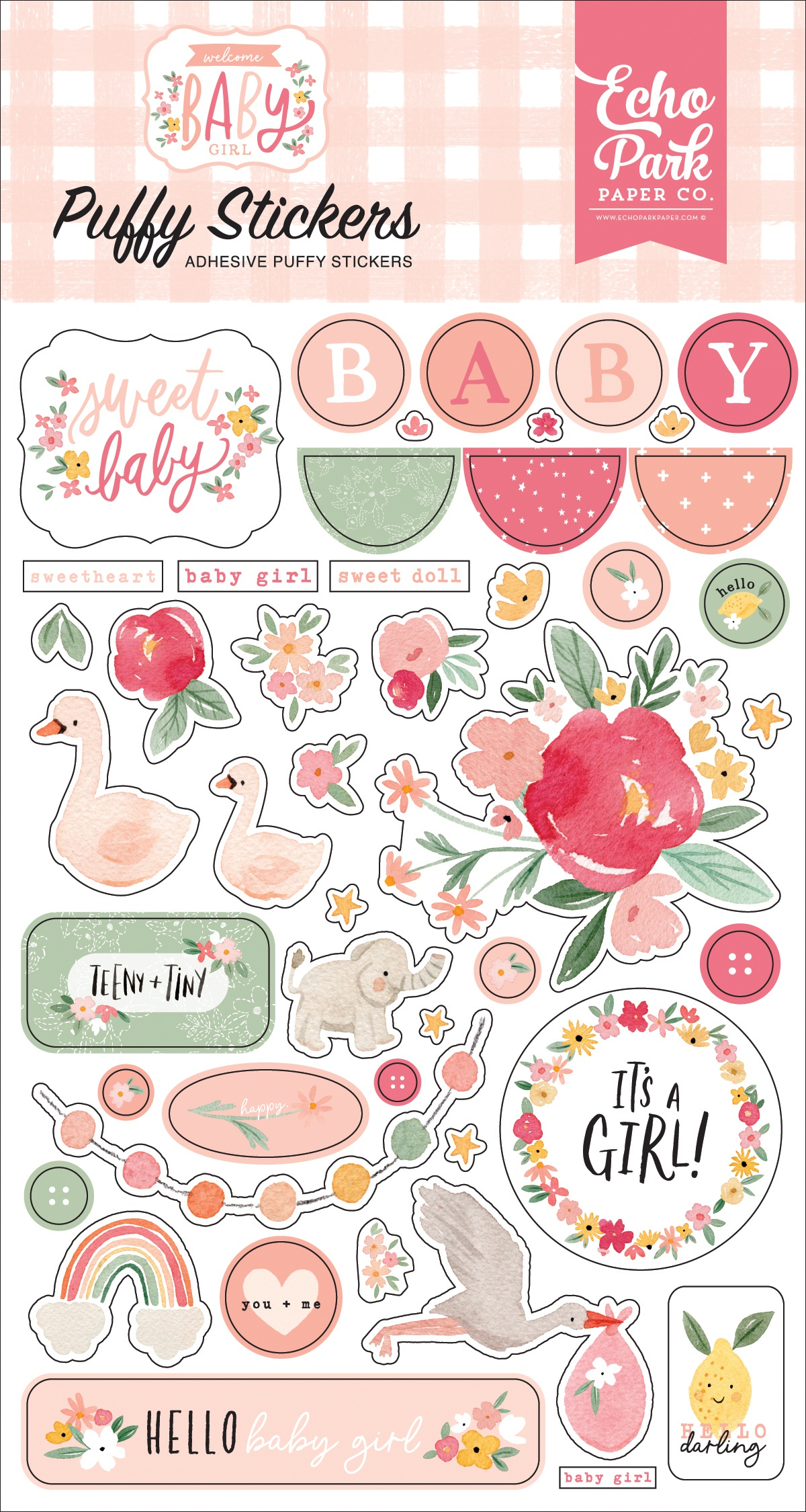 Echo Park - Welcome Baby Girl - Puffy Stickers