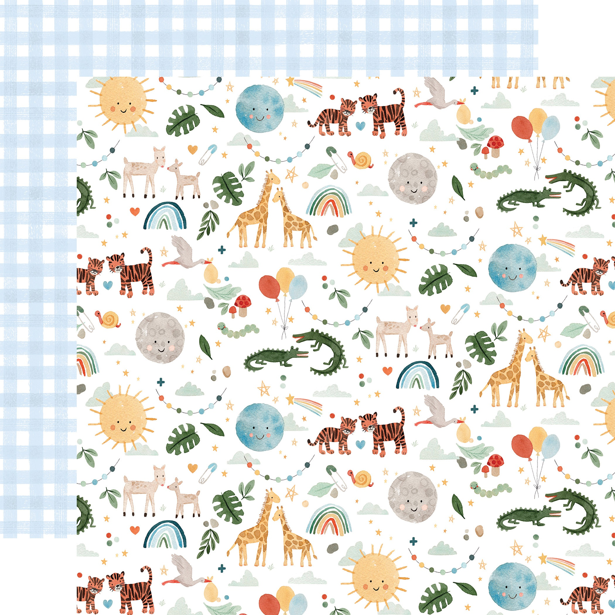 Echo Park - Welcome Baby Boy - ANIMALS - 12x12 Double-Sided Paper