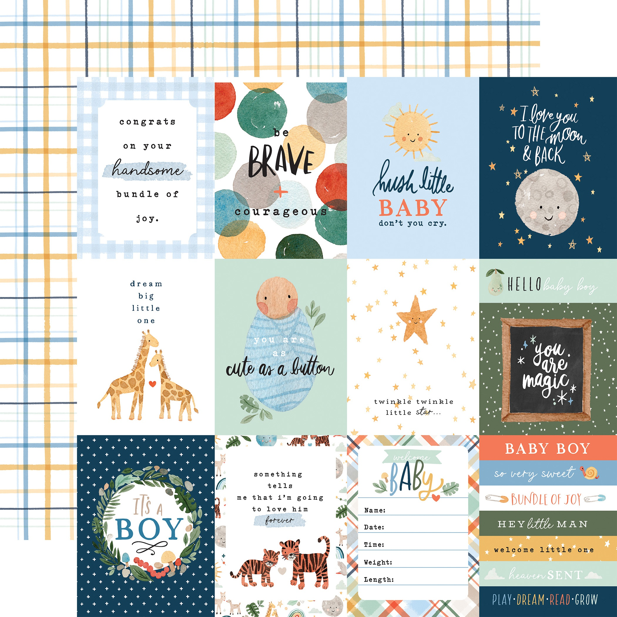 Echo Park - Welcome Baby Boy - 3X4 JOURNALING CARDS - 12x12 Double-Sided Paper