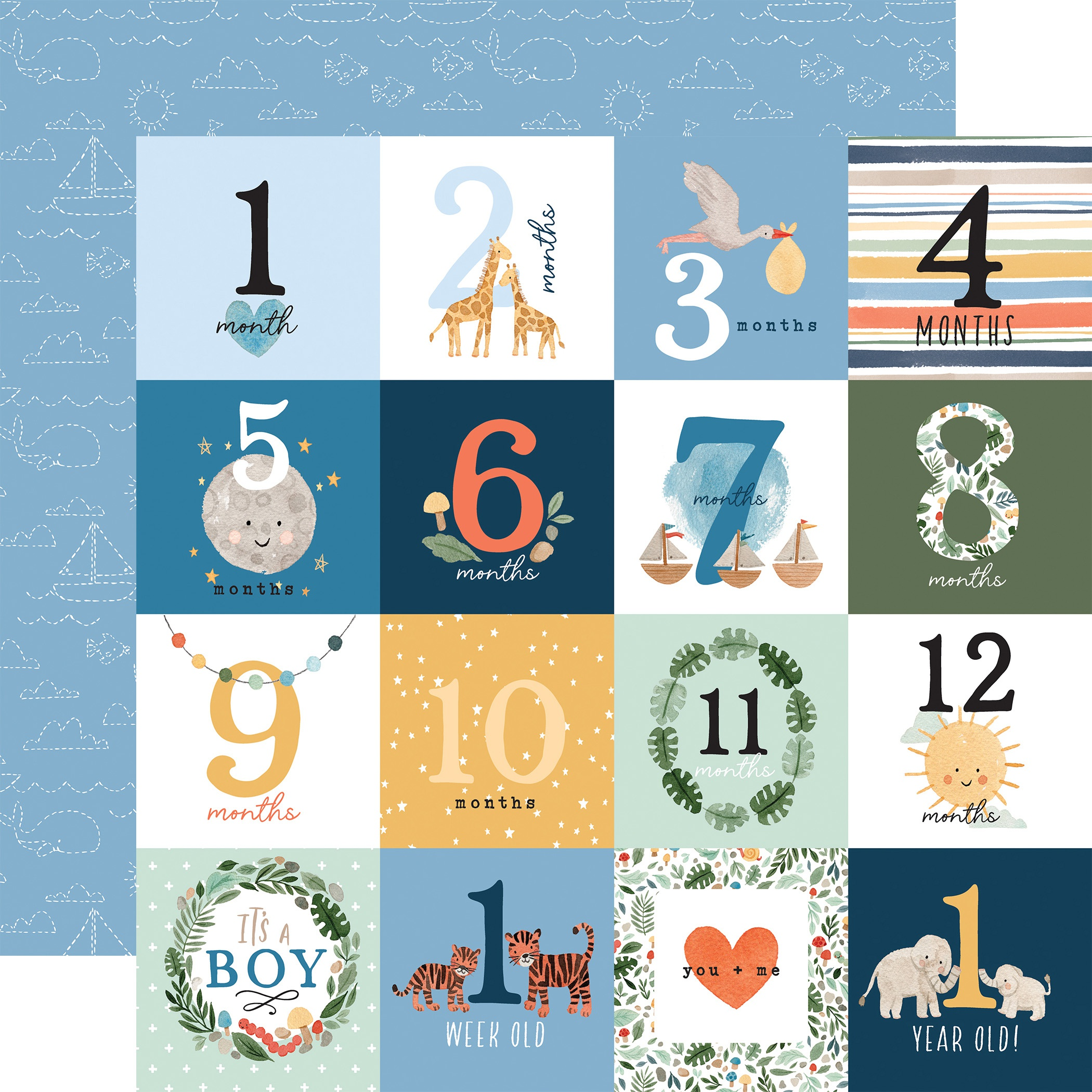 Echo Park - Welcome Baby Boy - MILESTONE JOURNALING CARDS - 12x12 Double-Sided Paper
