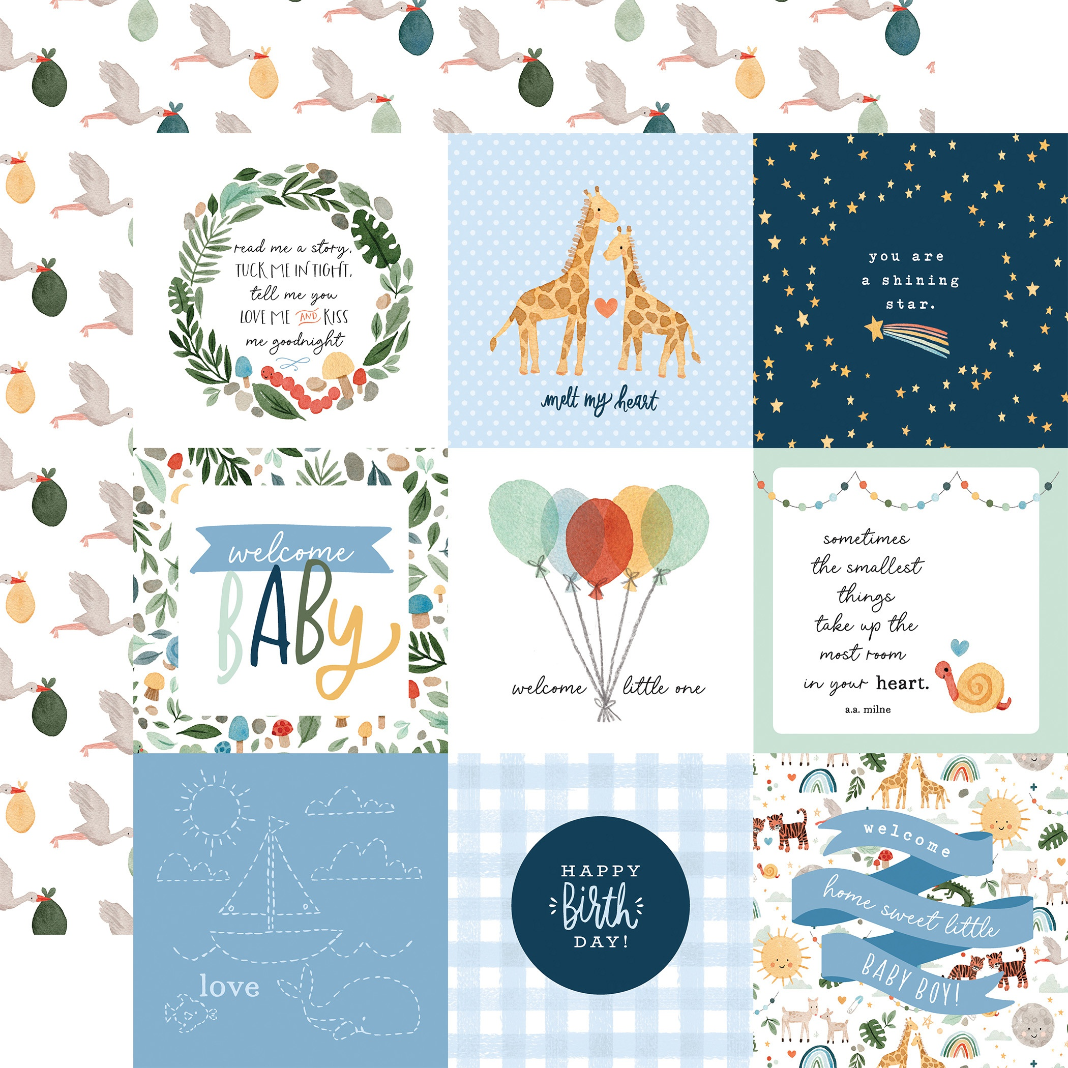 Echo Park - Welcome Baby Boy - 4X4 JOURNALING CARDS - 12x12 Double-Sided Paper