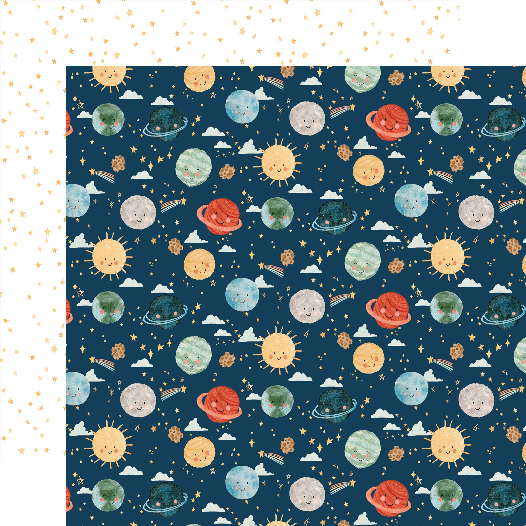 Echo Park - Welcome Baby Boy - PLANETS - 12x12 Double-Sided Paper